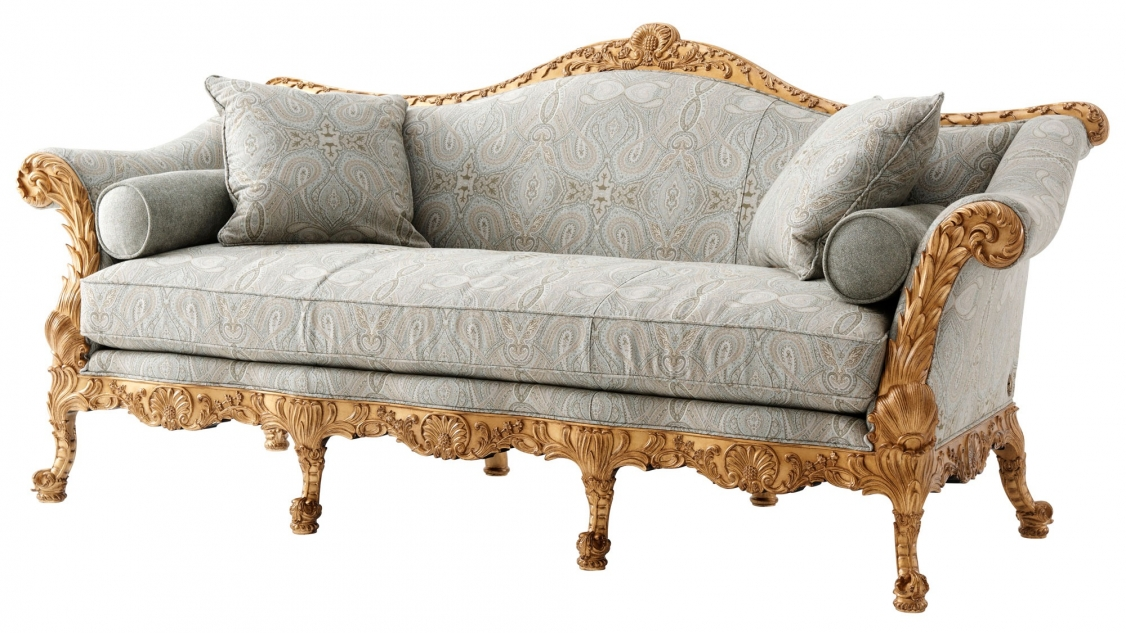 An Exceptionally Hand Carved Mahogany And Gilt Sofa