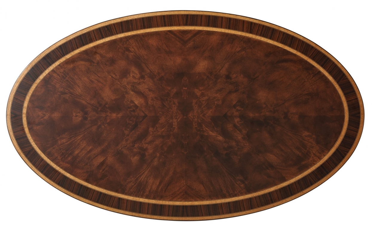 Finely Detailed Flame Mahogany Cocktail Table with Palm Tree Accents