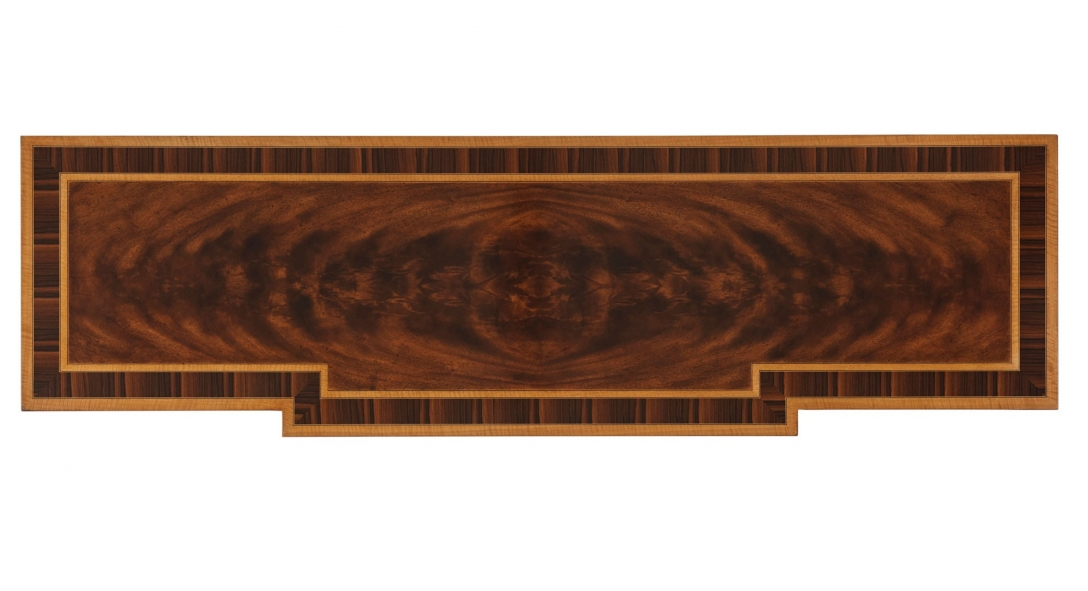 A flame mahogany, Movingue and rosewood banded dresser