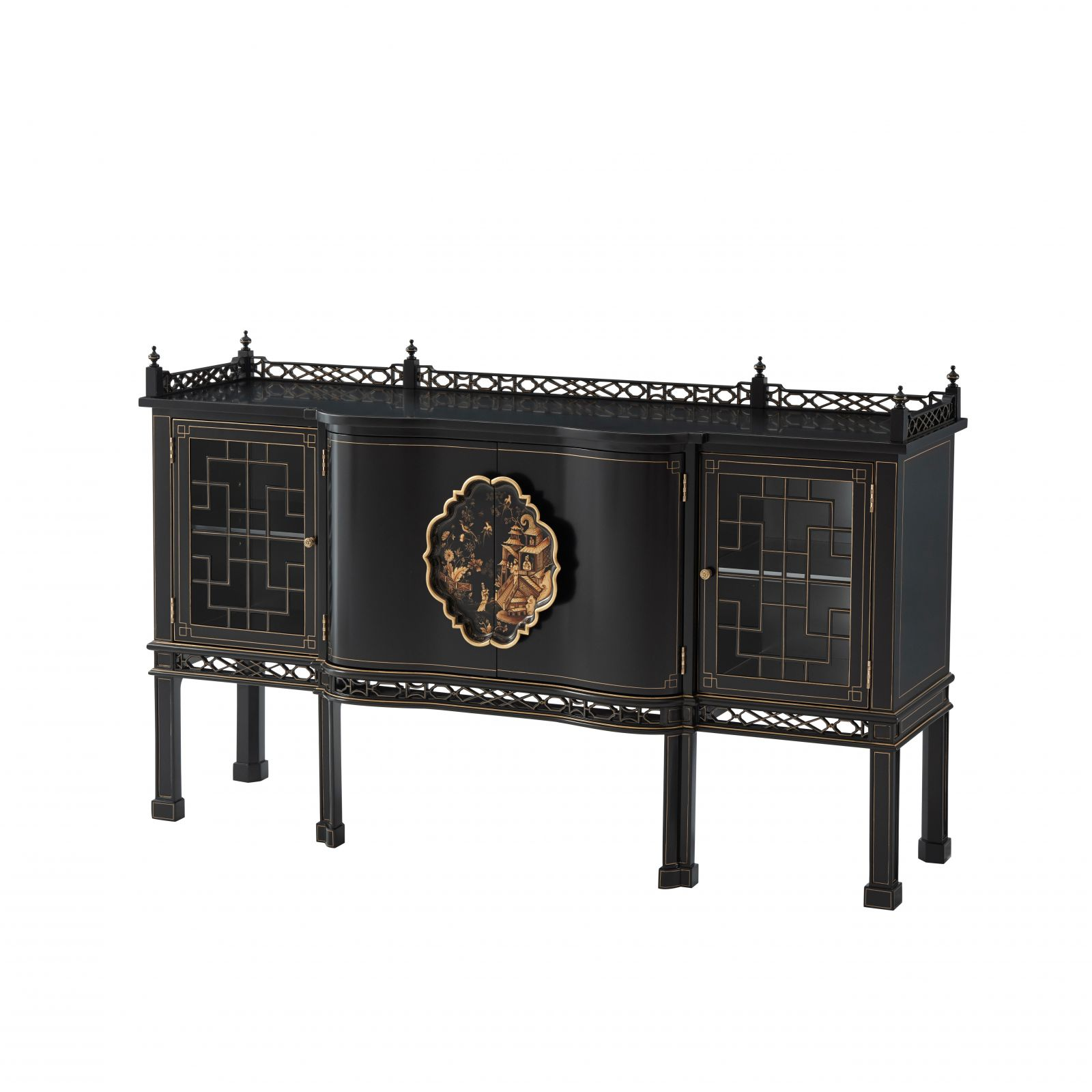 Ebonised Serpentine Sideboard with Handpainted Chinoiserie Decoration