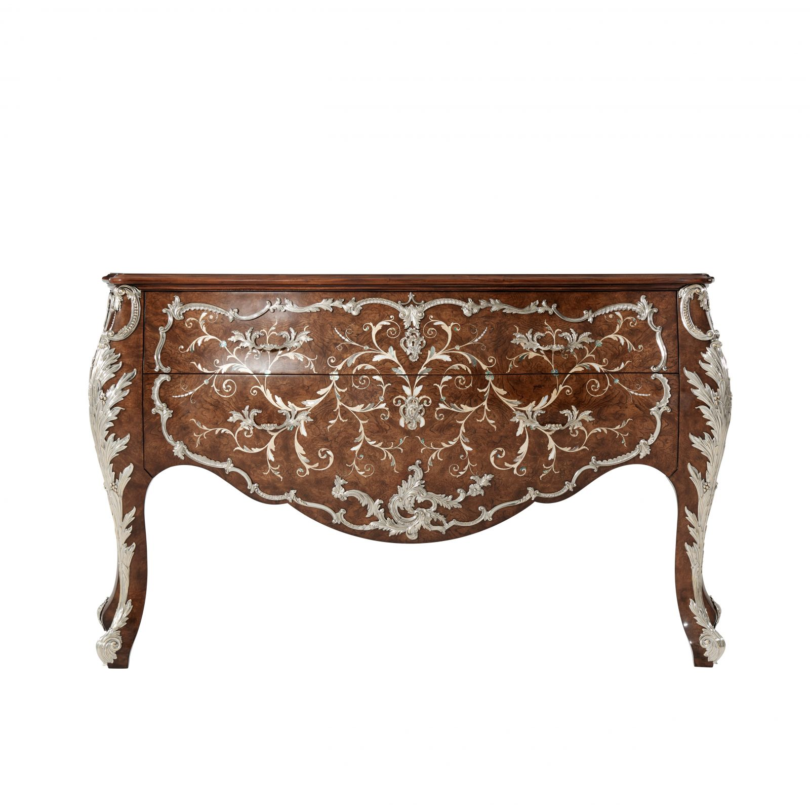 Anglian finish mahogany, chestnut veneered and marquetry bombé Commode