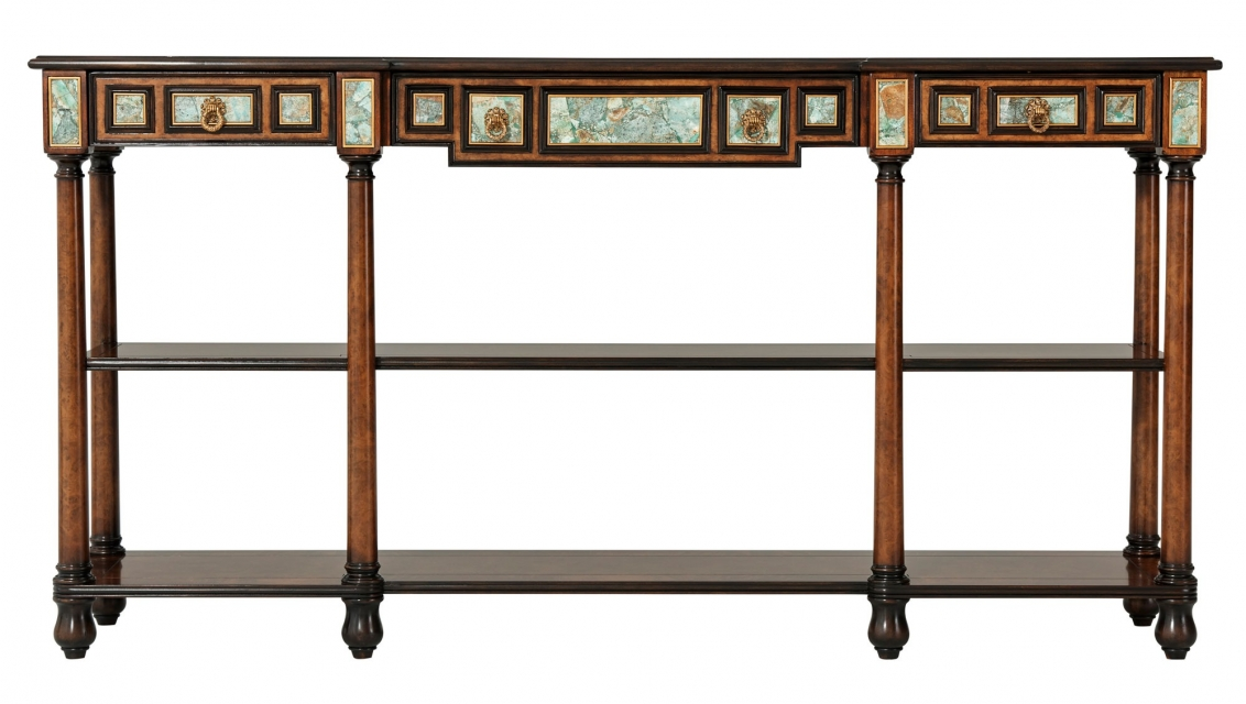 Turquoise inlay console table