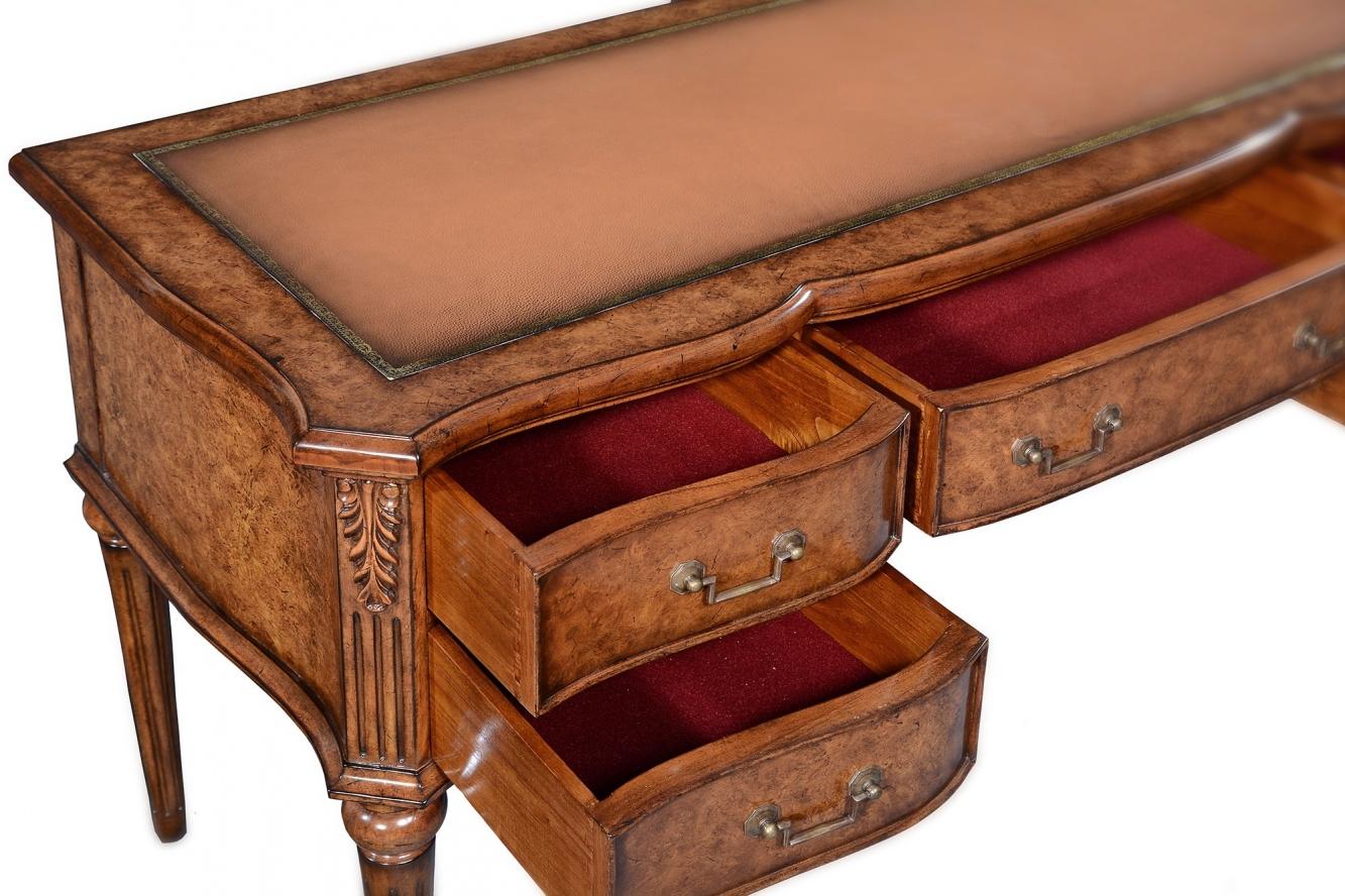Provincial style writing desk in burr oak veneers