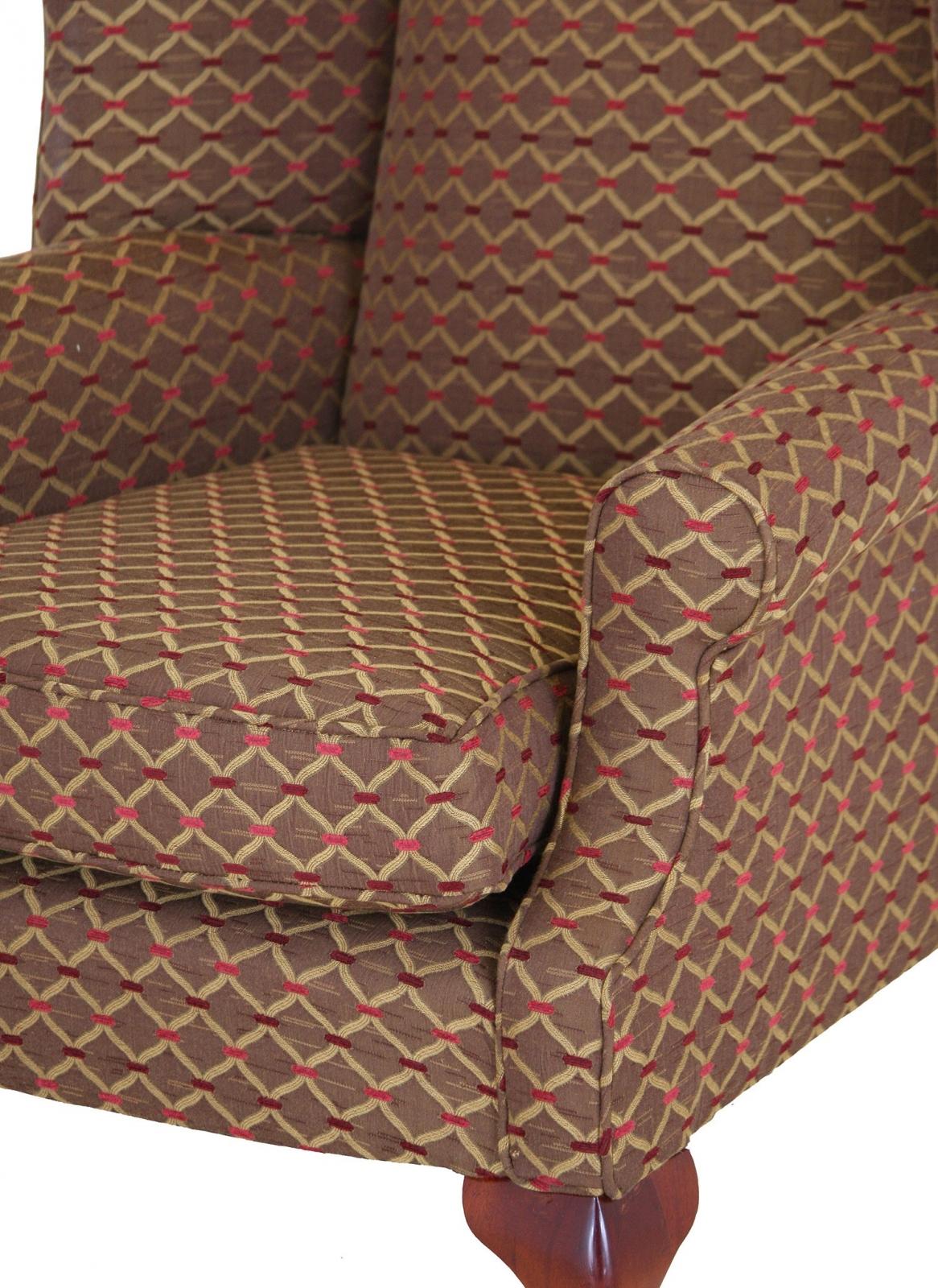 Coleridge wing chair in Jim Dickens Agra Wild Berry