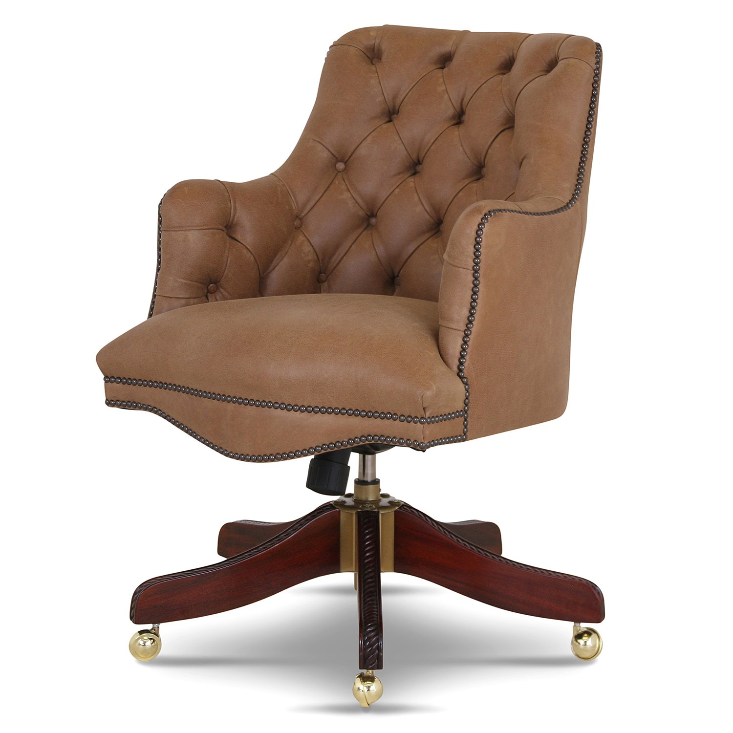 Buttoned Bosuns swivel chair in Stone leather