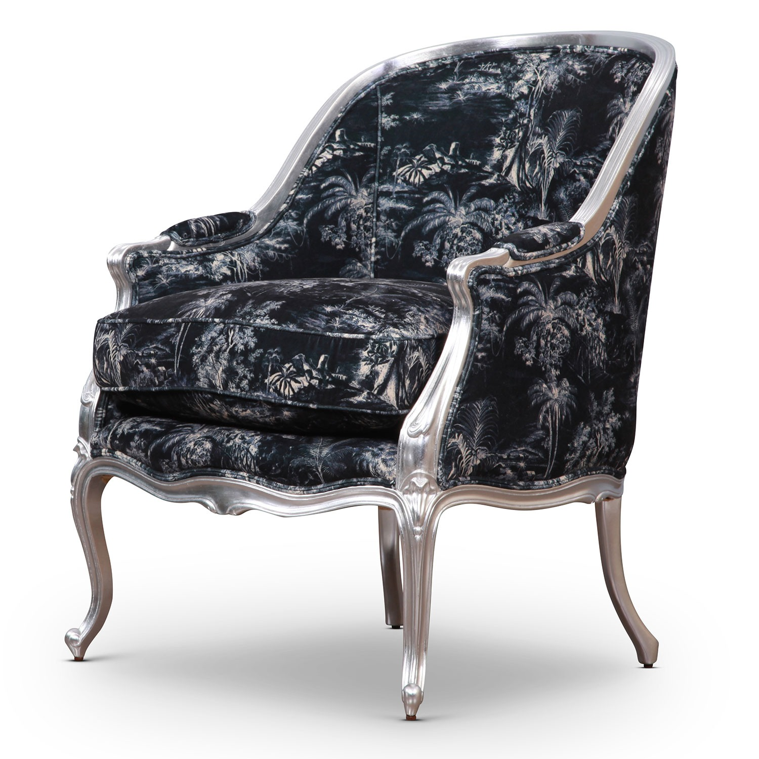 Hepplewhite tub accent chair in silver leaf