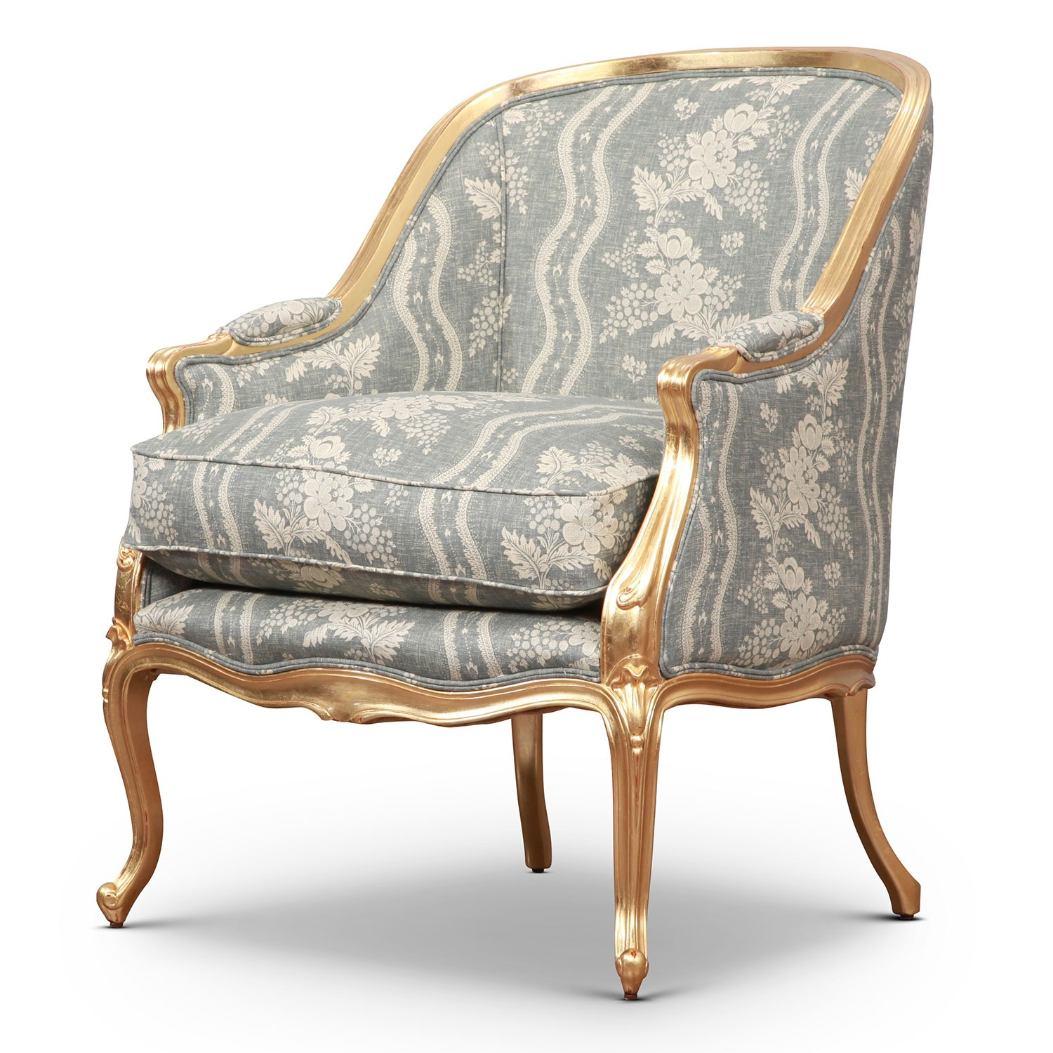 Gilded Hepplewhite tub accent chair