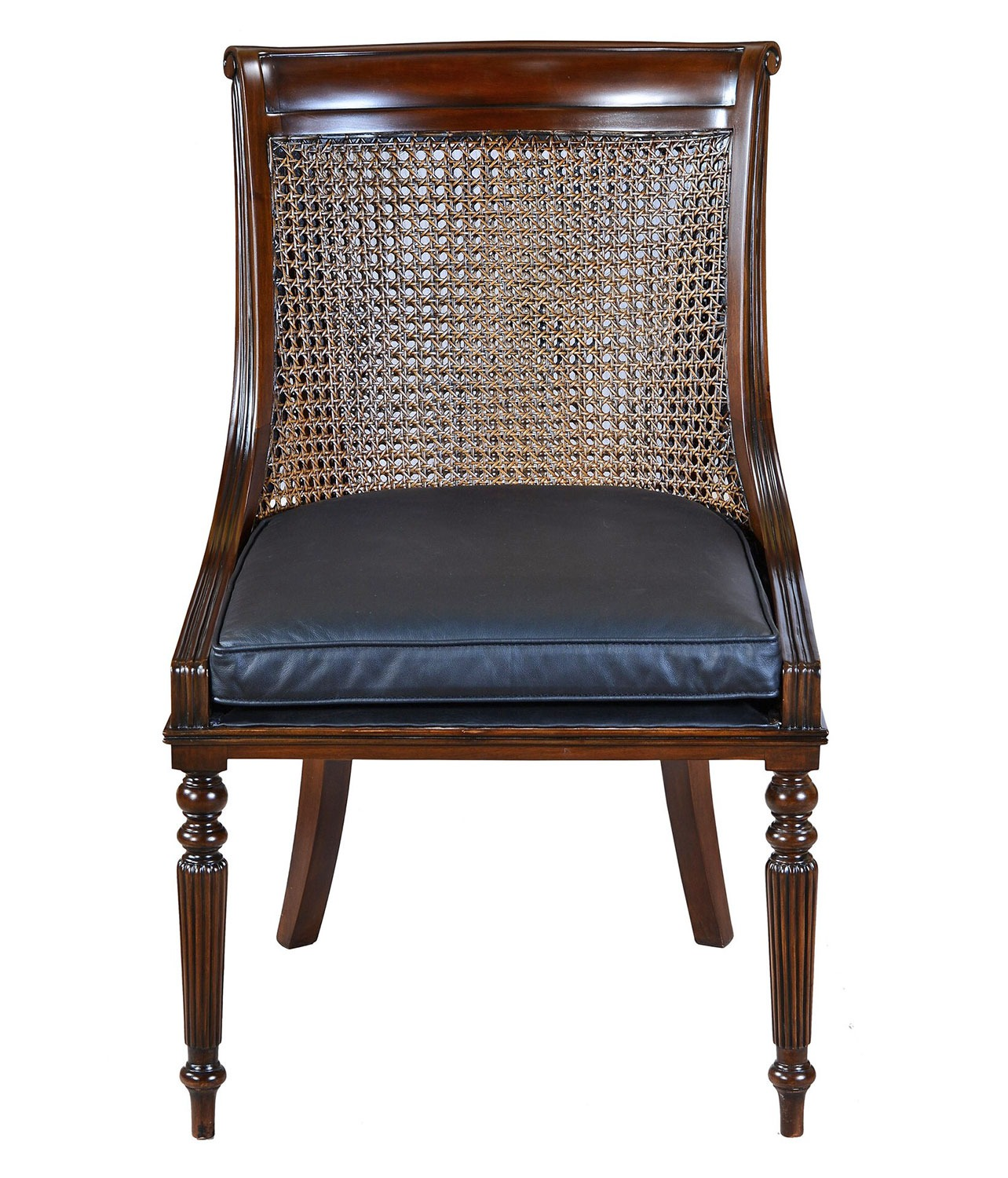 Scoop back mahogany and rattan chair