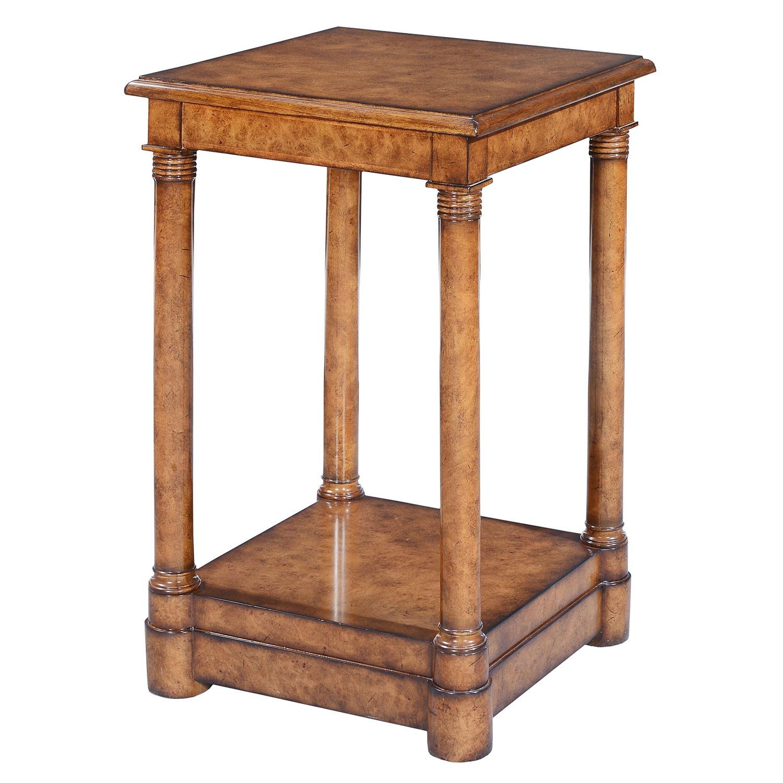 Empire style tall side table - Burr oak