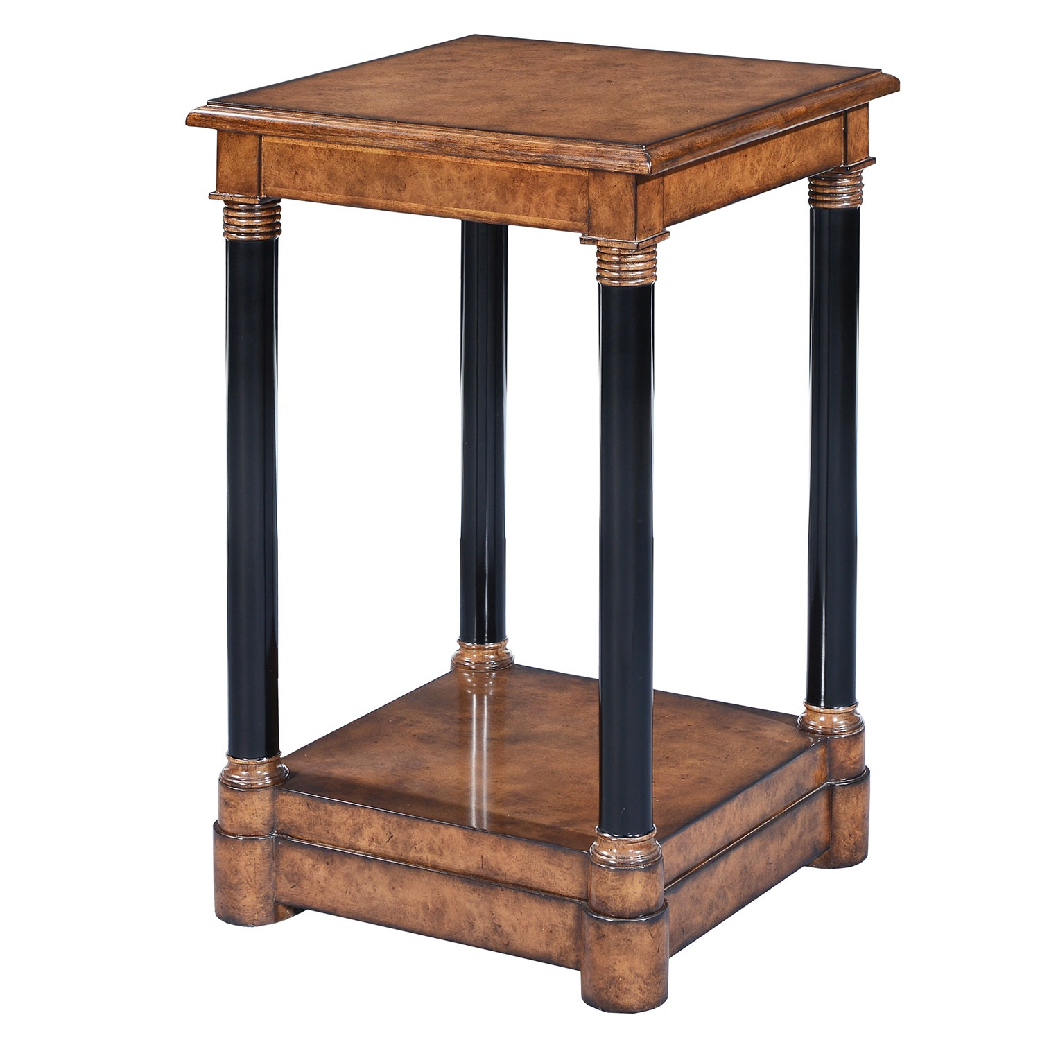 Empire style tall side table - Burr oak with ebonised legs