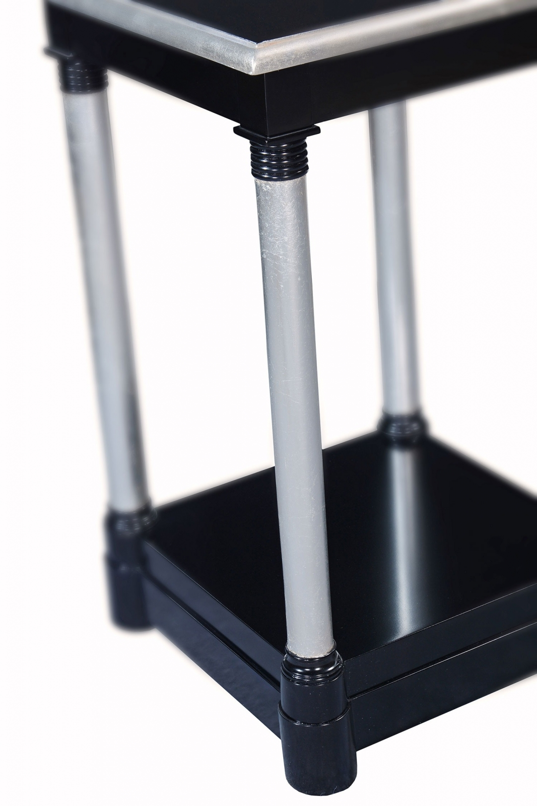 Empire style tall side table - Ebony and silver