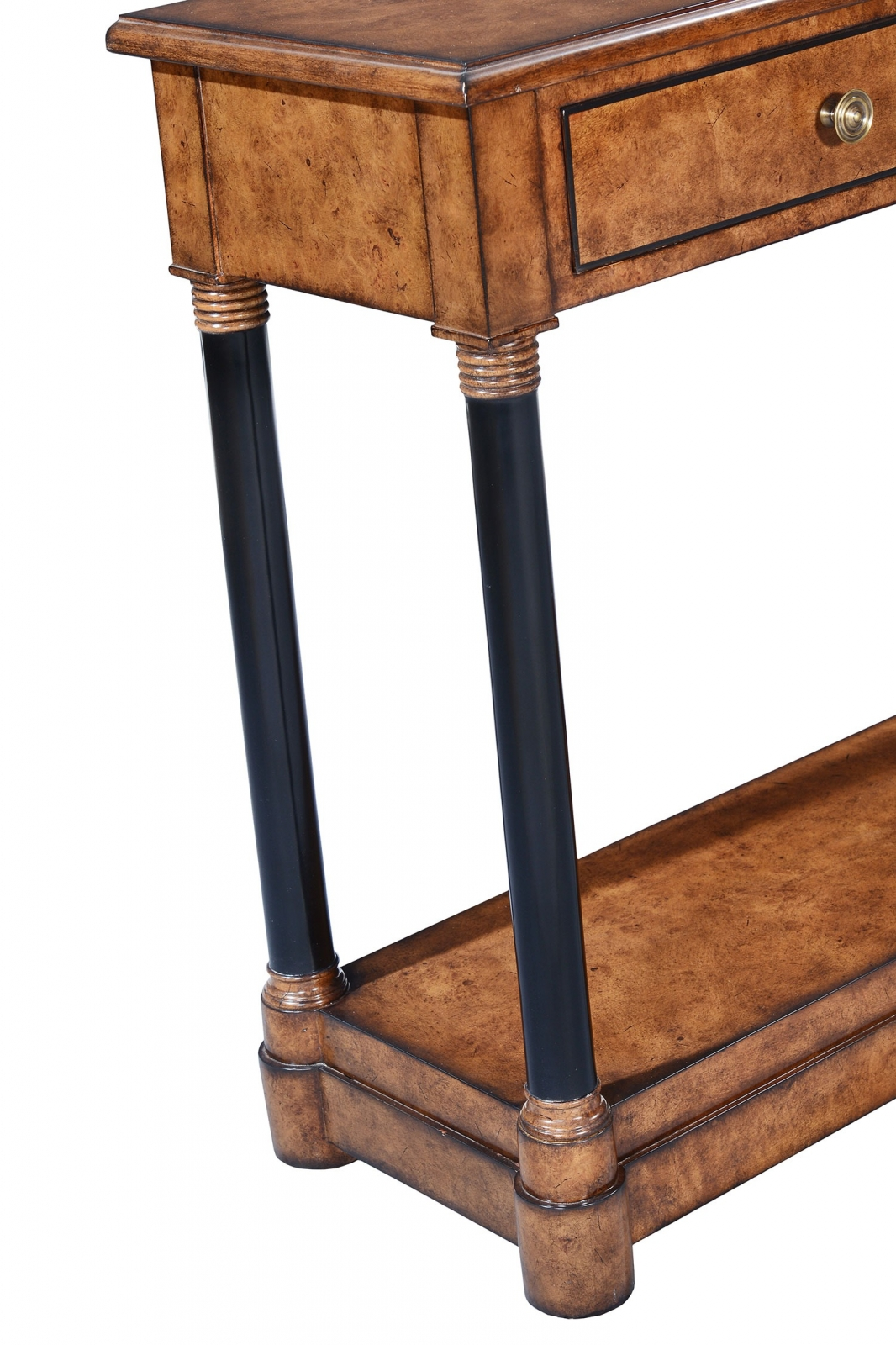 Empire style console table - Burr oak with ebonised legs
