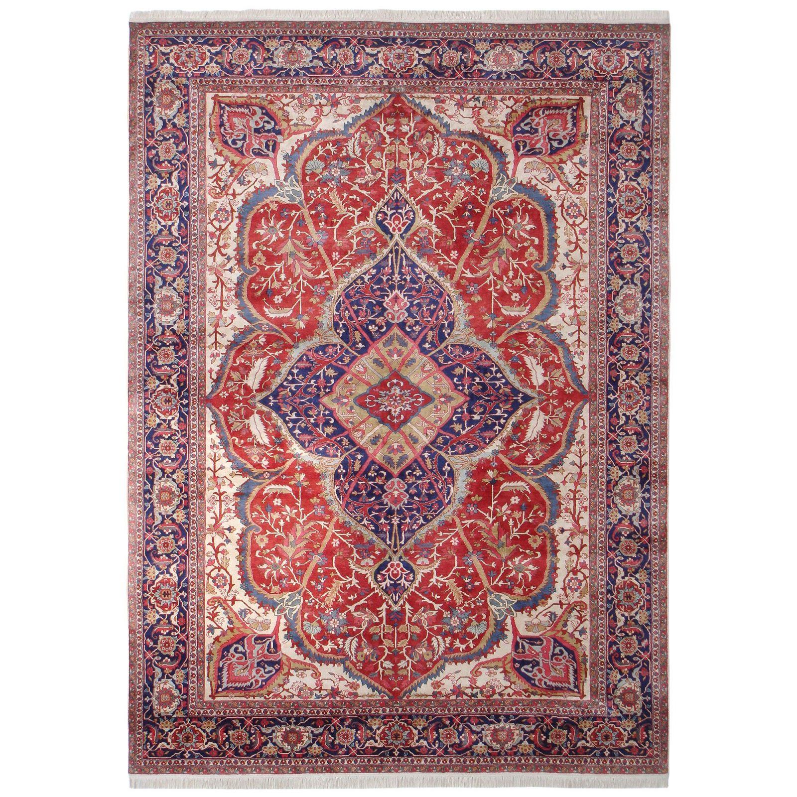 Heriz design silk carpet