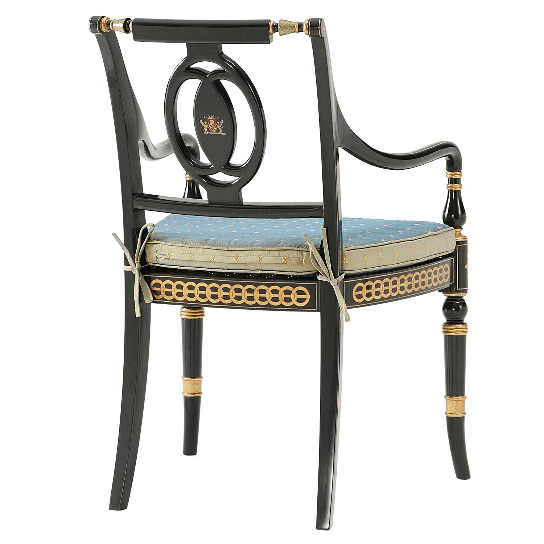 Ebonised And Parcel Gilt Arm Chair