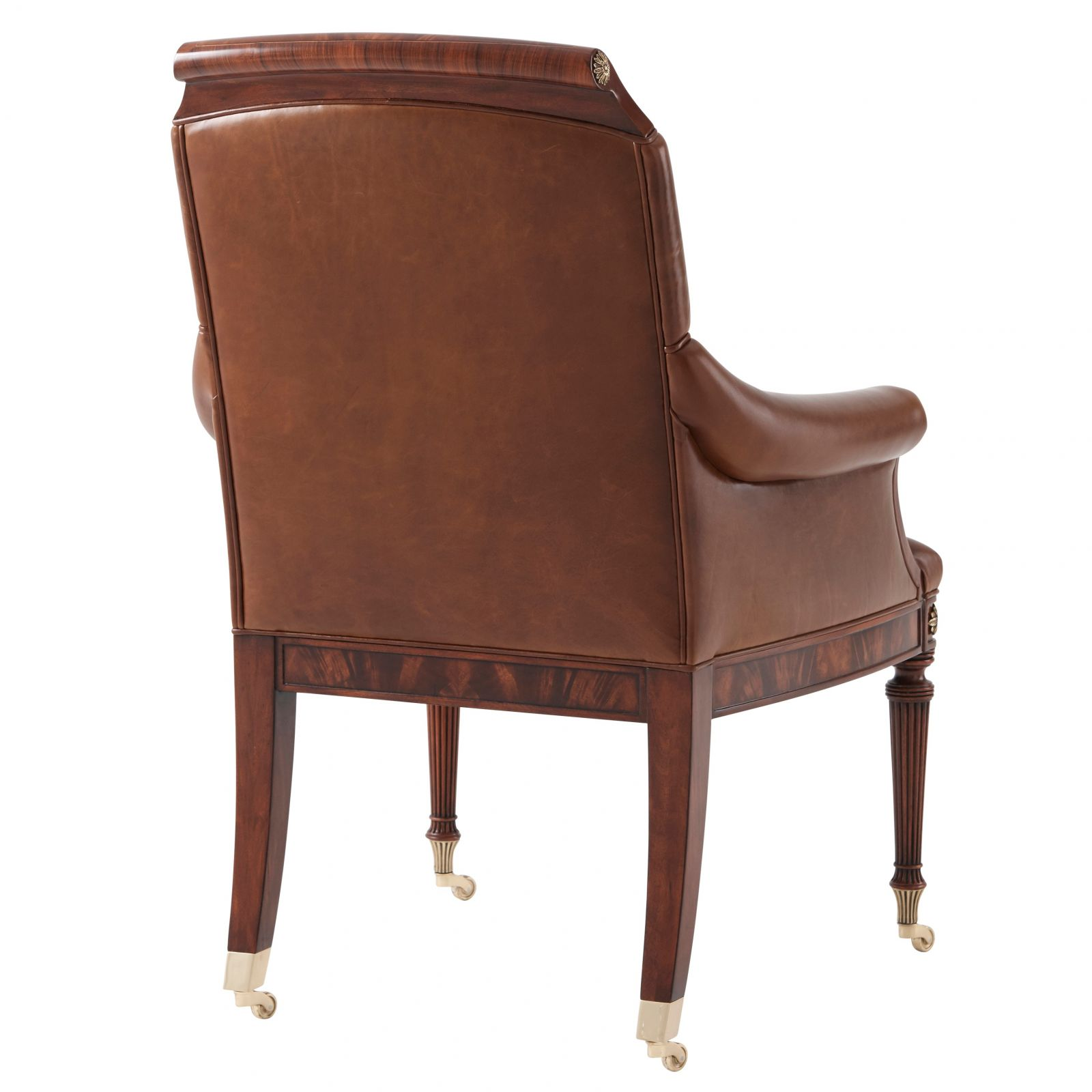 Regency style mahogany desk chair with brass accents