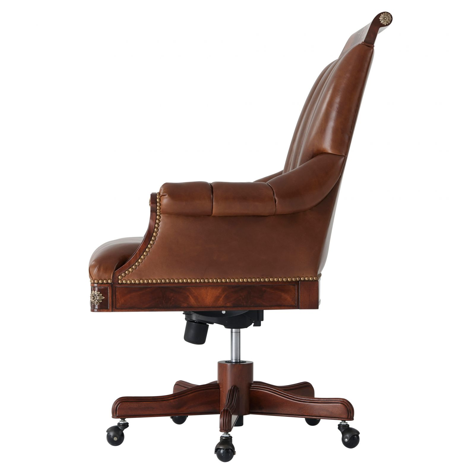 Regency style mahogany desk swivel chair with brass accents