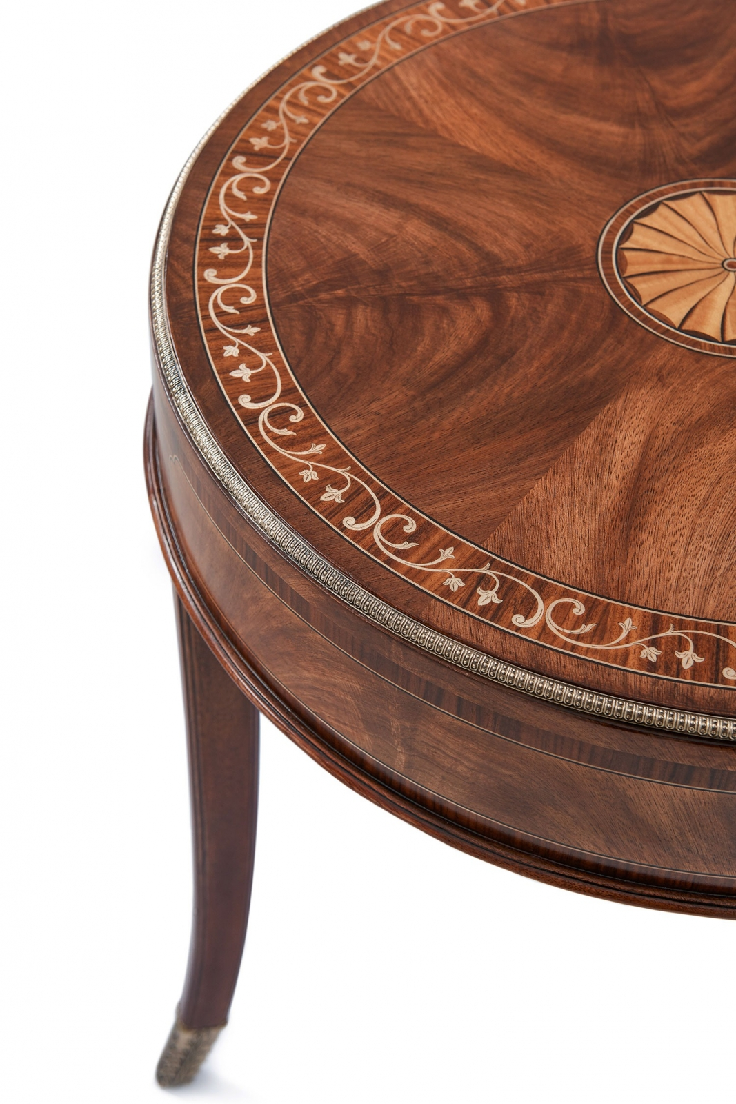Marquetry inlay round side table