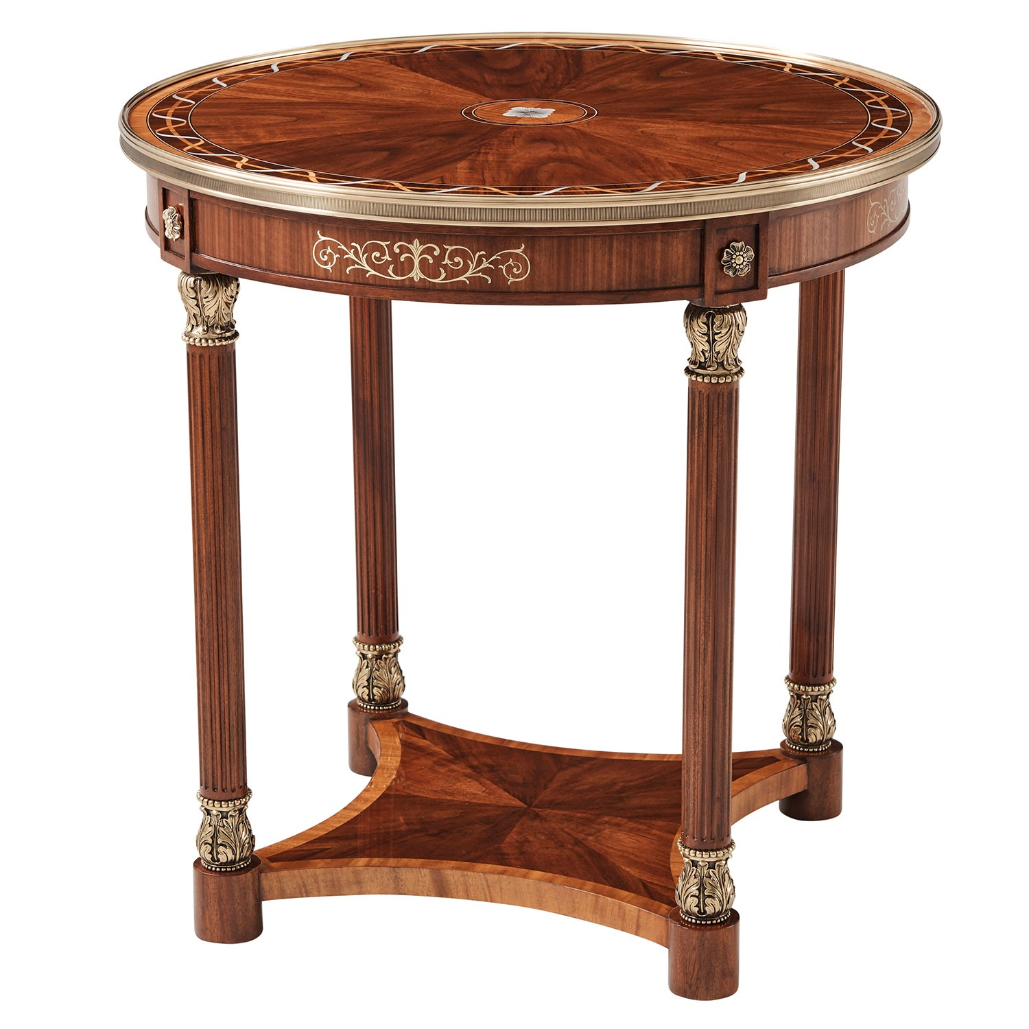 Mahogany Side or Lamp Table with floral inlay