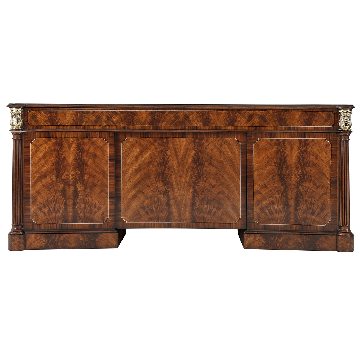 Flame mahogany and crossbanded pedestal desk