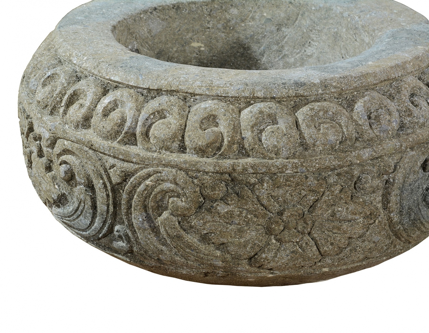 Large round stone planter, hand carved
