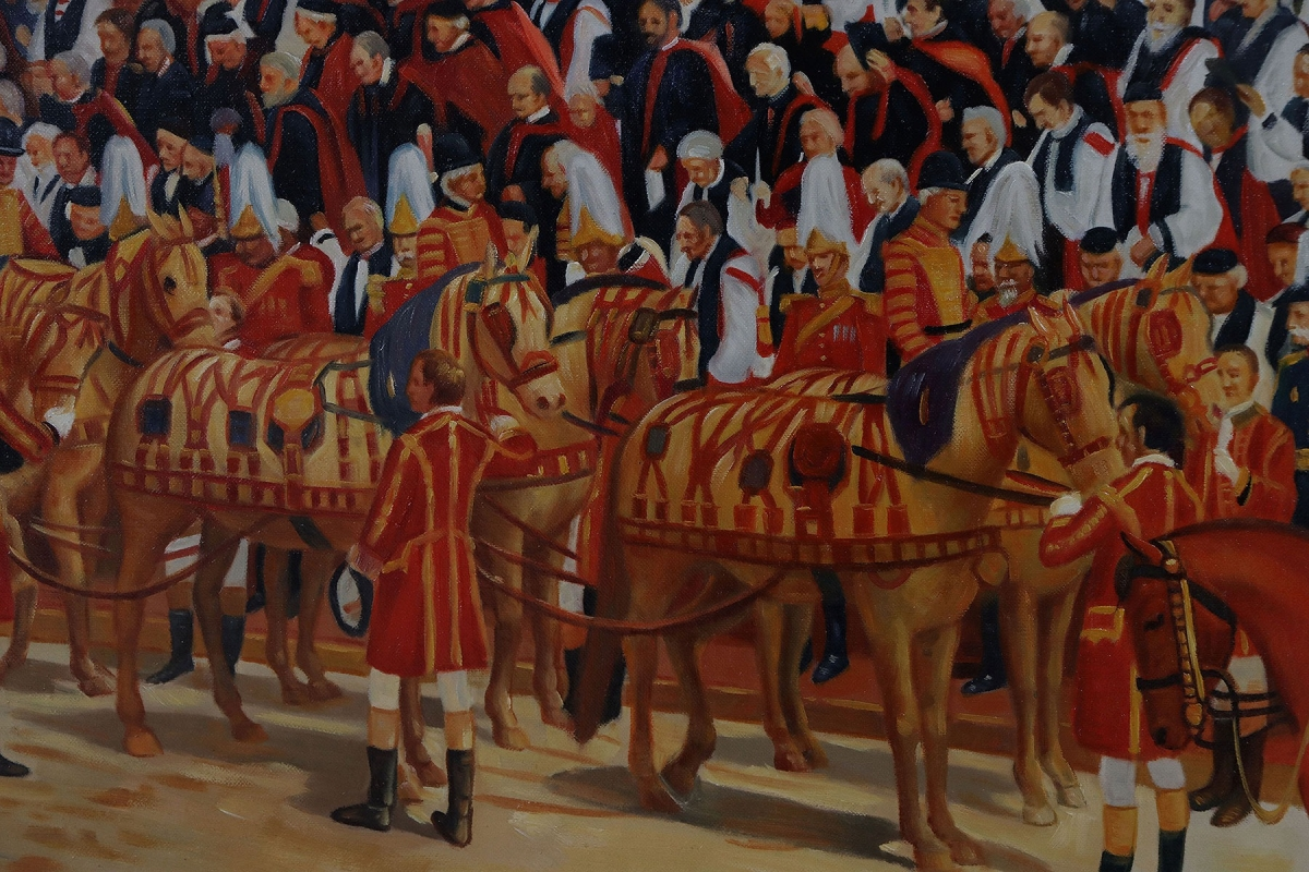 Victorian style oil painting if Queen Victoria's Diamond Jubilee after Andrew Carrick Gow