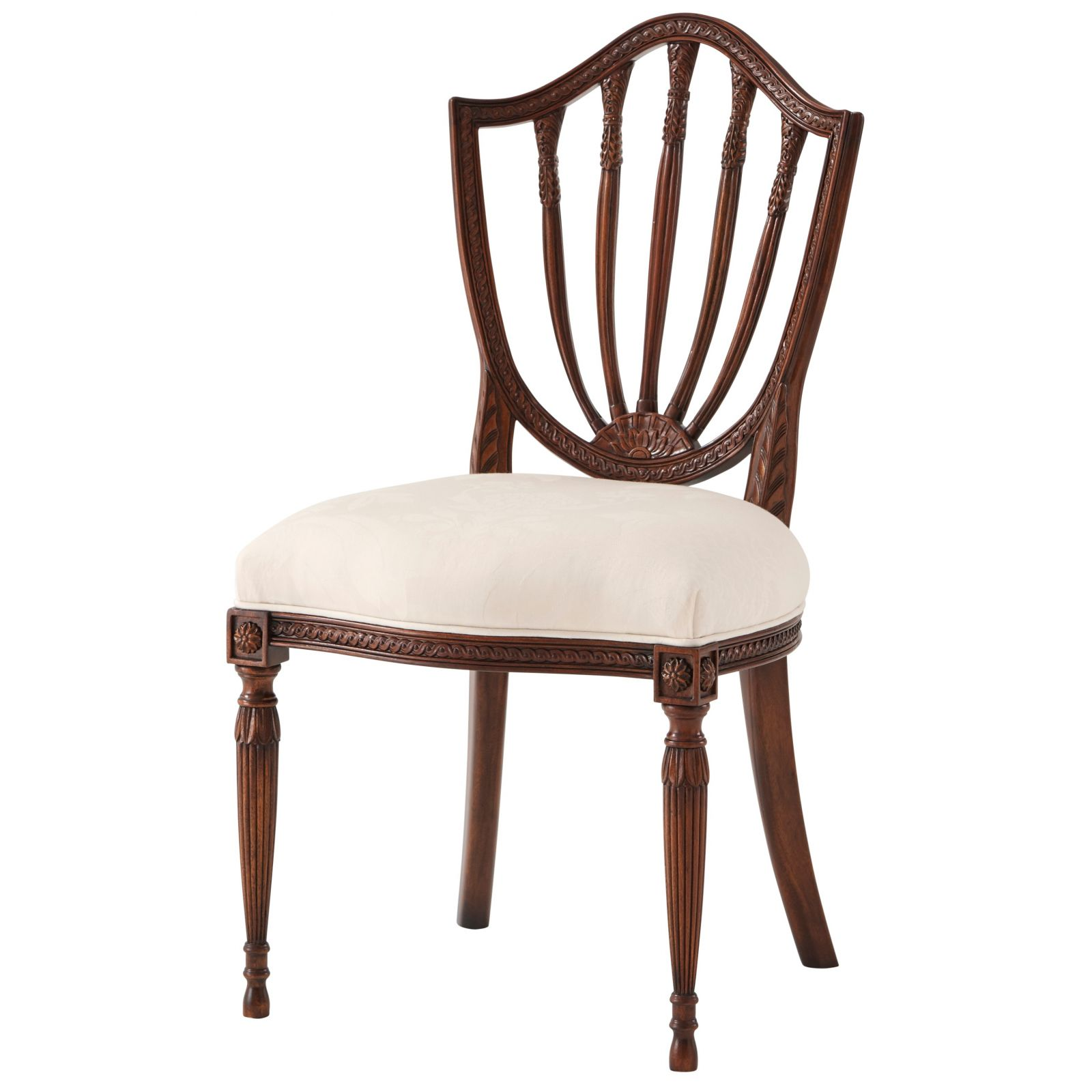 Hepplewhite style dining chair with Isle Mill Scottish wool seat fabric