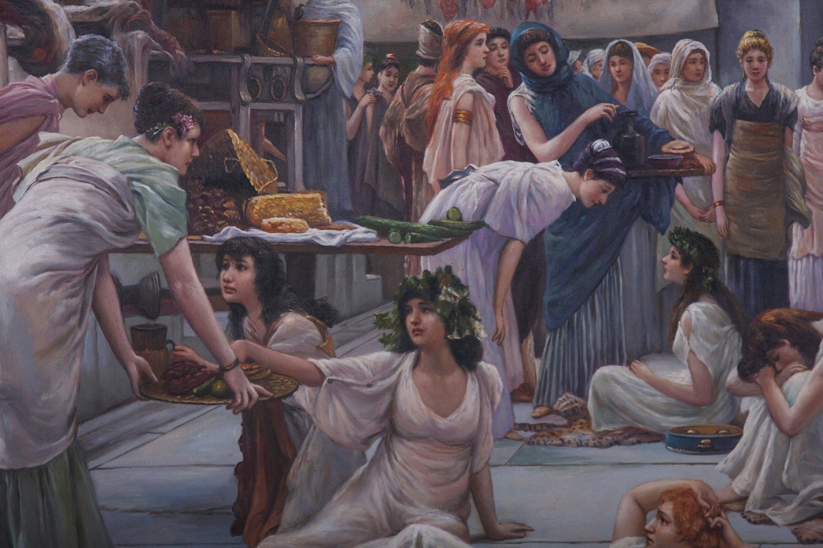 Classical oil painting of The Women Of Amphissa after Alma-Tadema