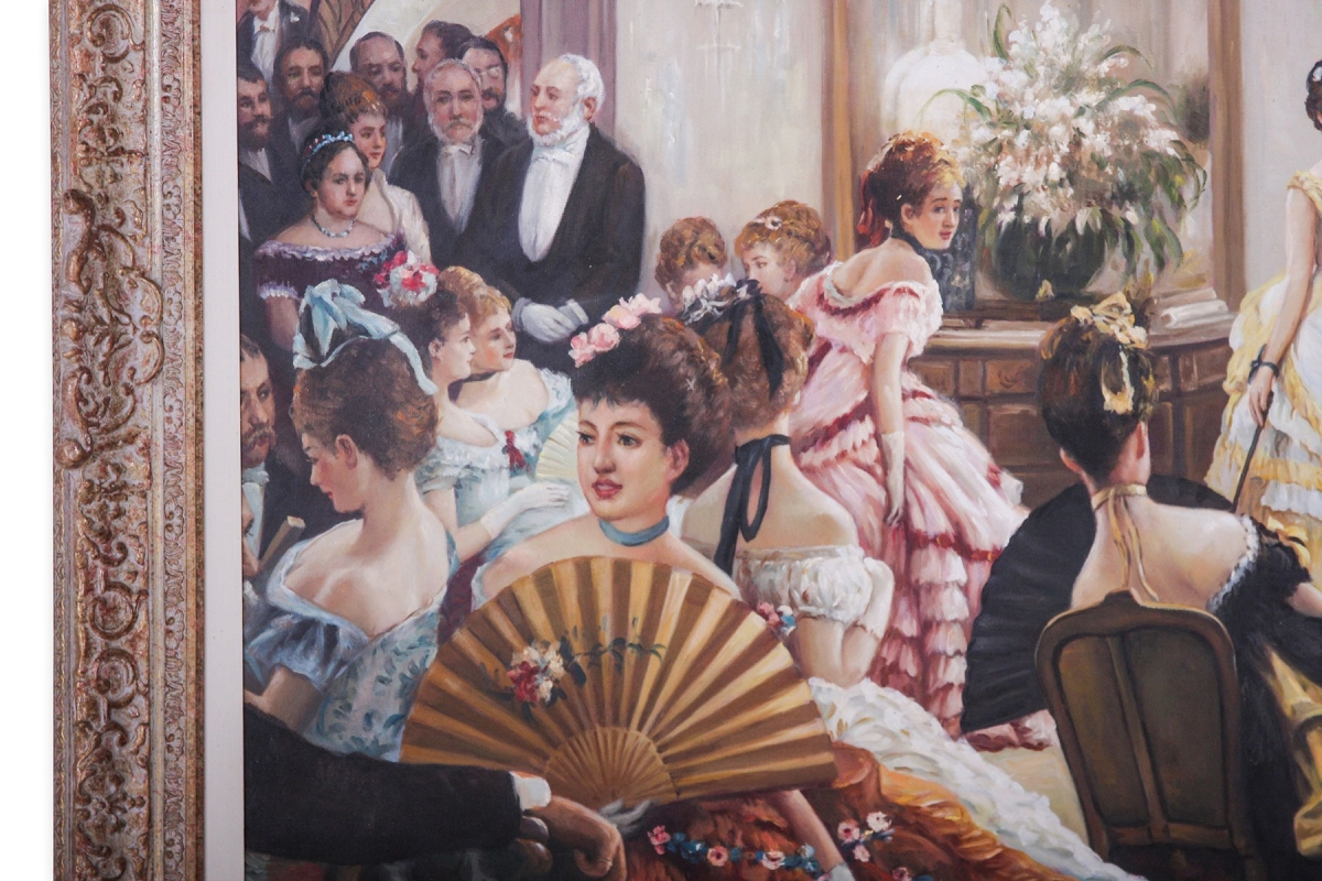 Oil painting of Hush! (The Concert) after James Tissot