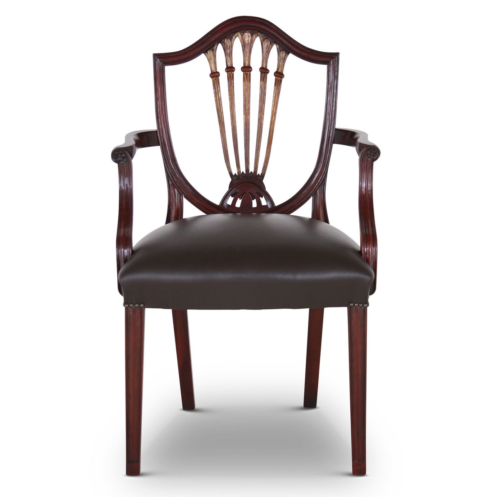 Hepplewhite style mahogany carver dining chair with leather seat