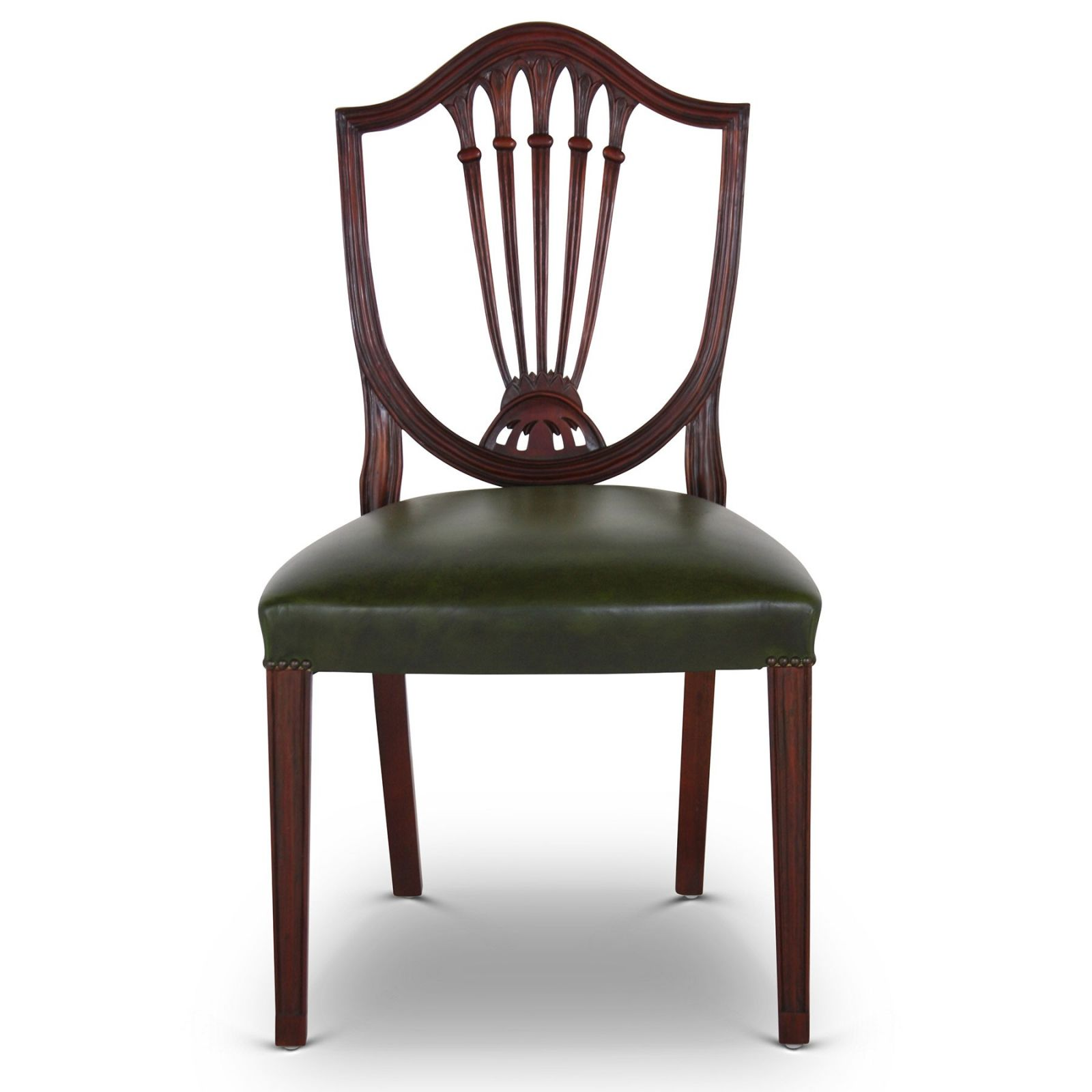 Hepplewhite style mahogany dining chair with green leather seat