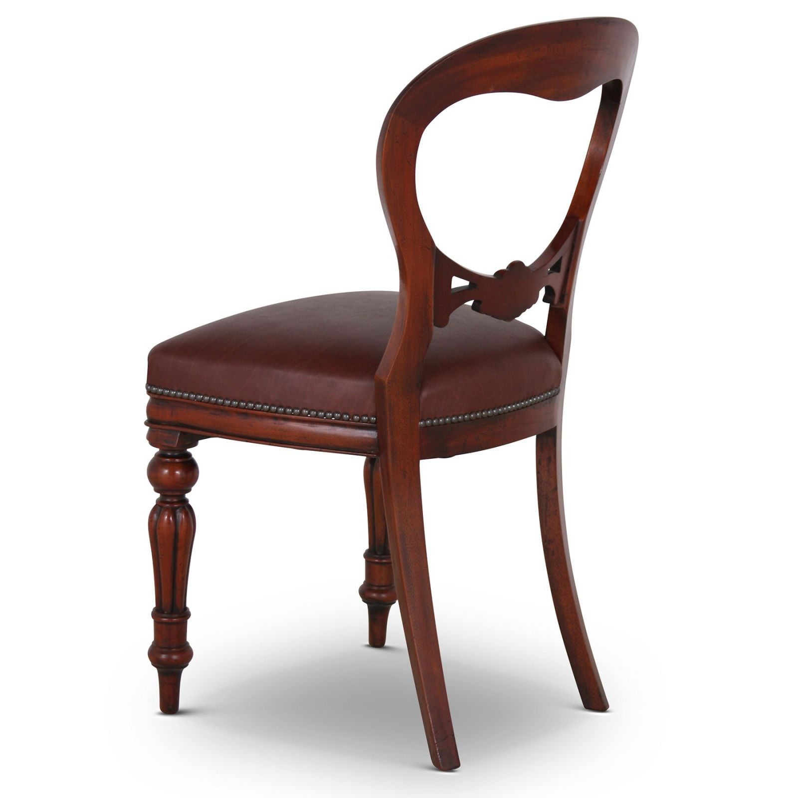 Victorian style balloon back dining chair with brown leather seat