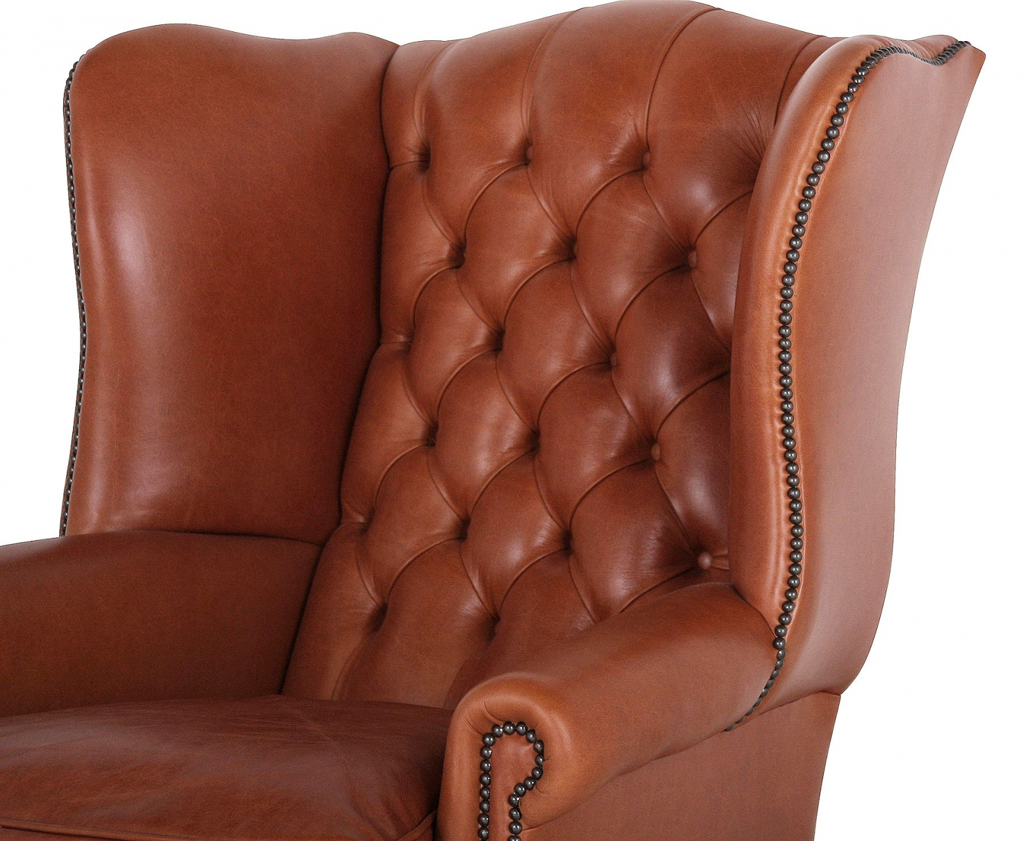 Coleridge traditional buttoned wing chair in Tan leather