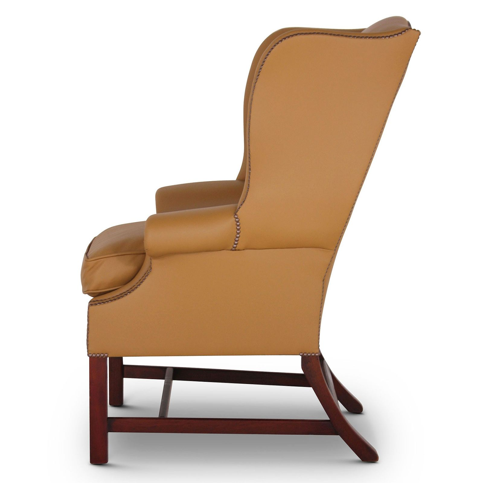 Georgian wing chair in ochre leather