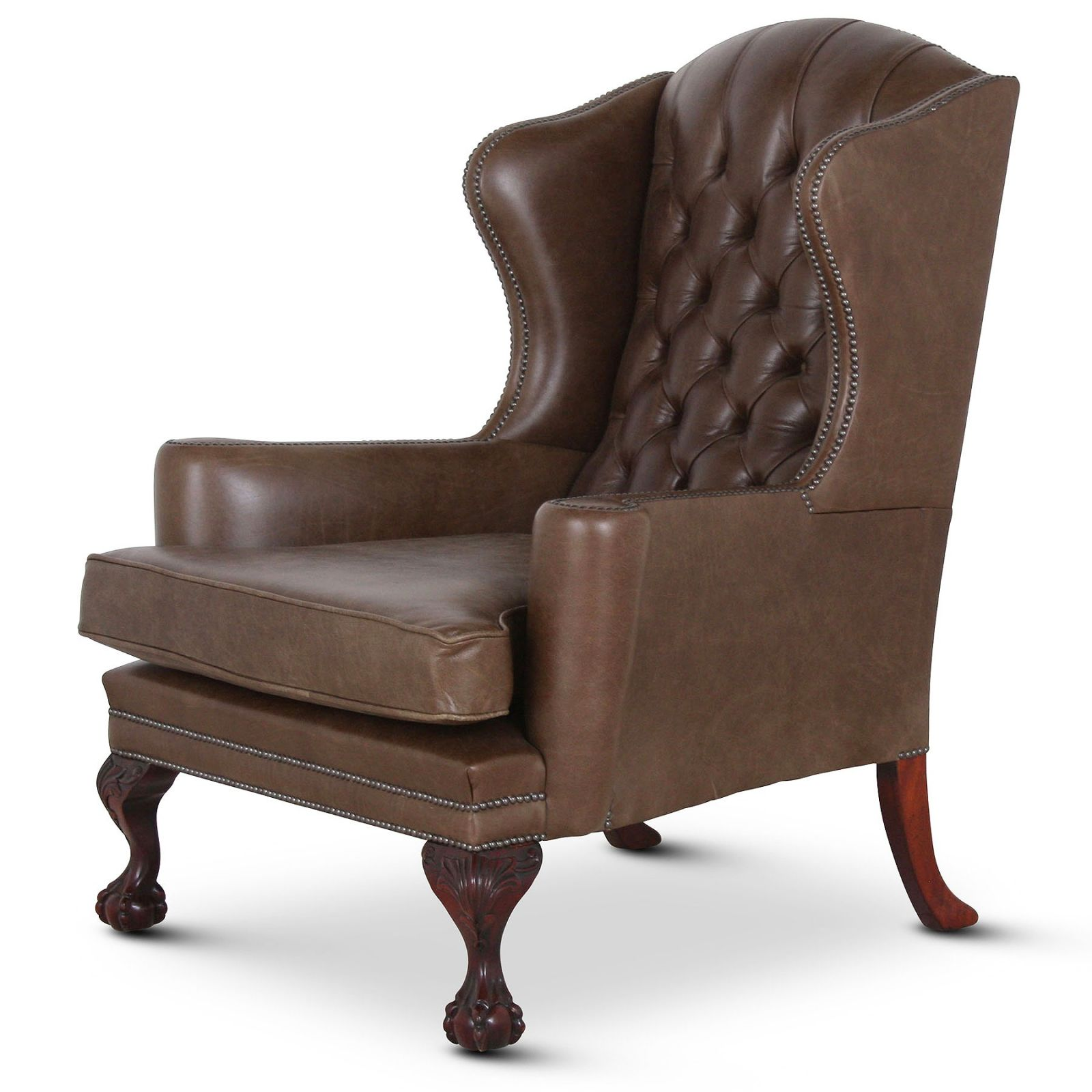 Oversized Mebury wing chair in olive leather