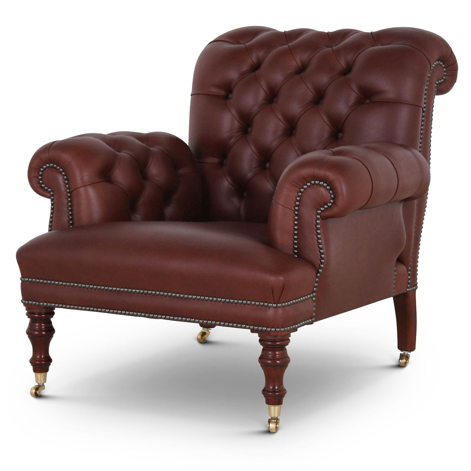 Warwick antique style buttoned leather chair