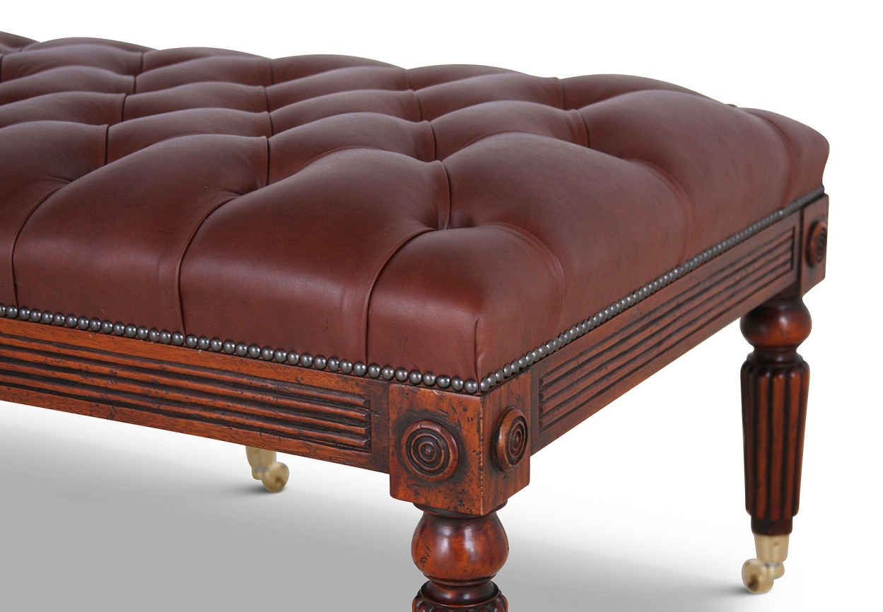 Mahogany buttoned leather stool
