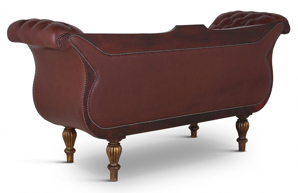 Victorian leather buttoned sofa with giltwood frame