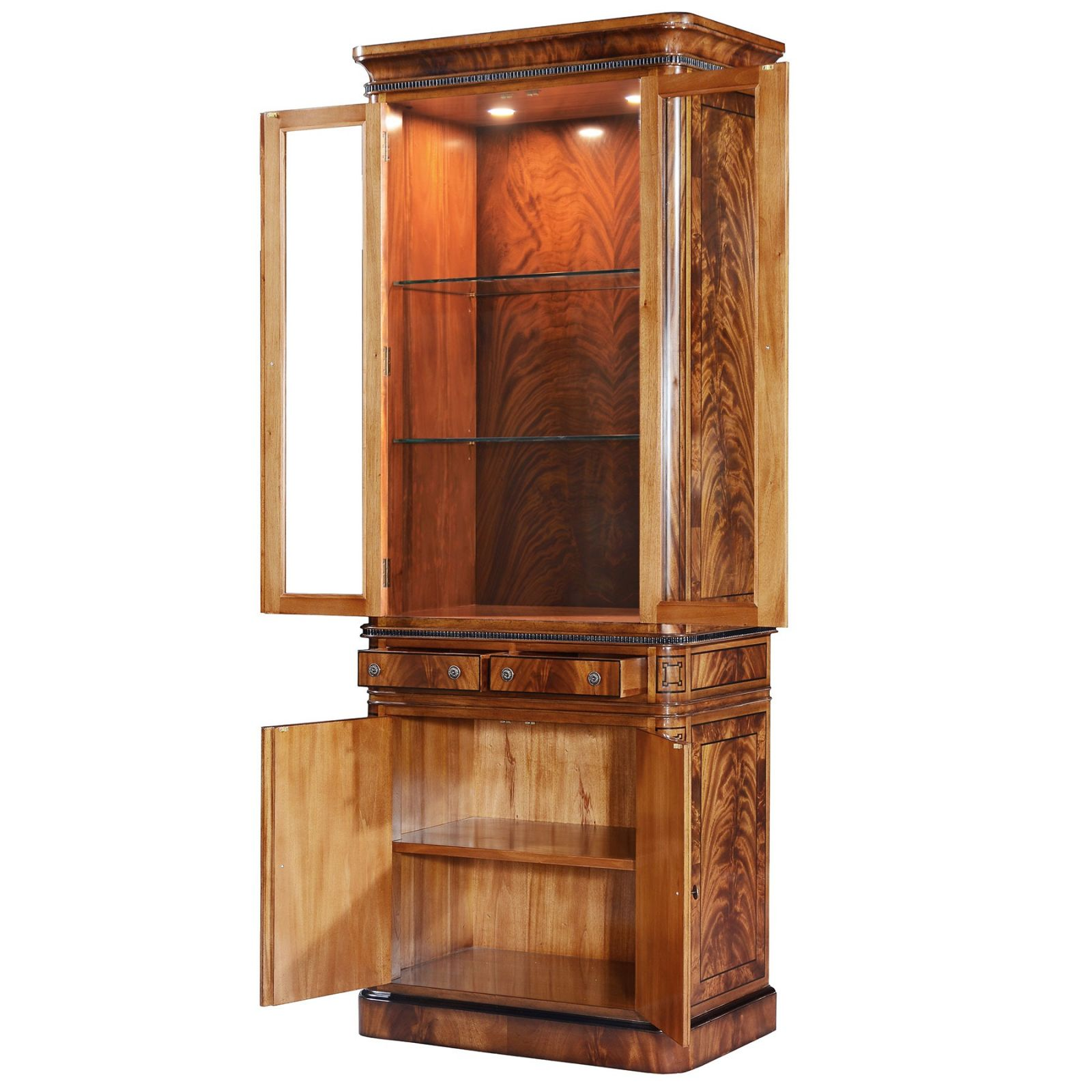 Thomas Hope style two door mahogany display cabinet