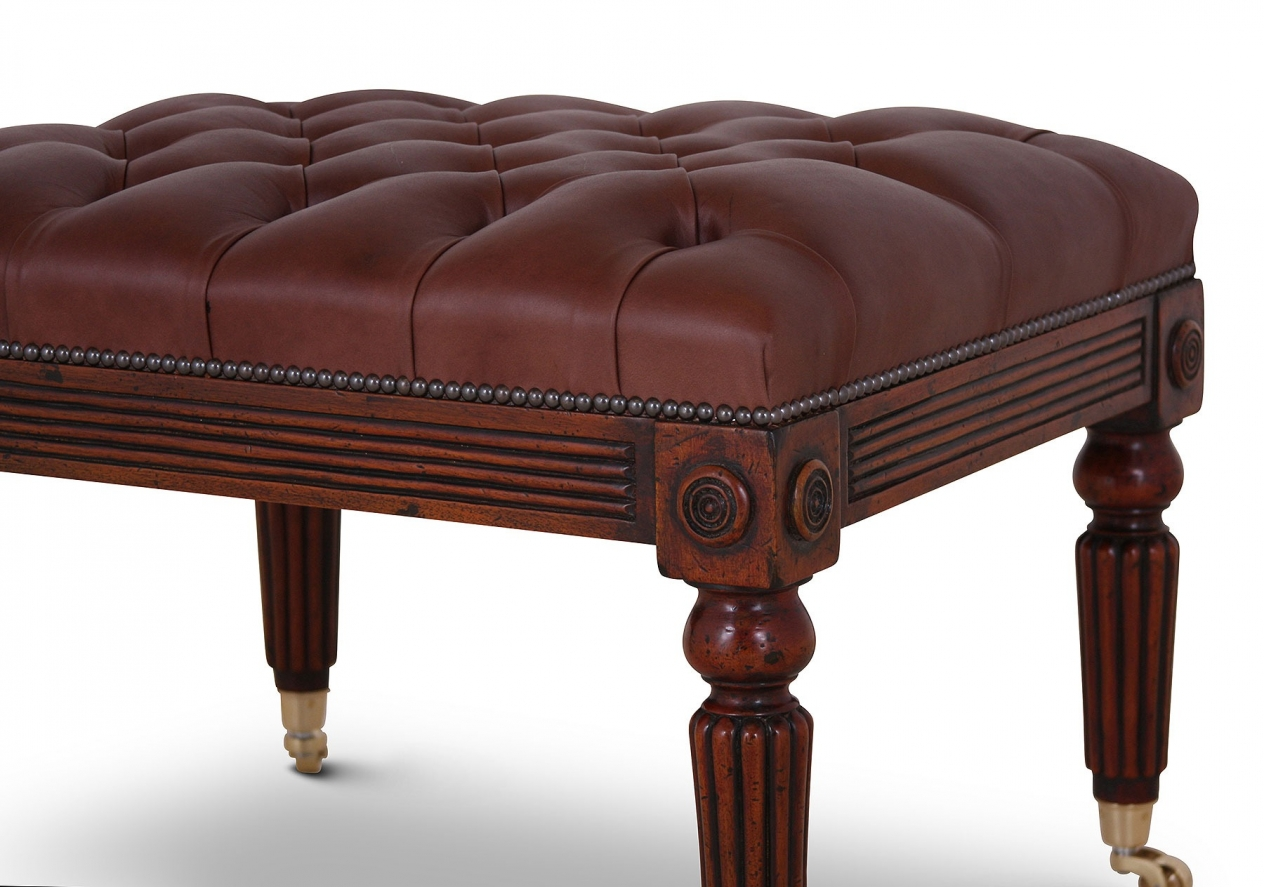 Mahogany buttoned leather stool - small
