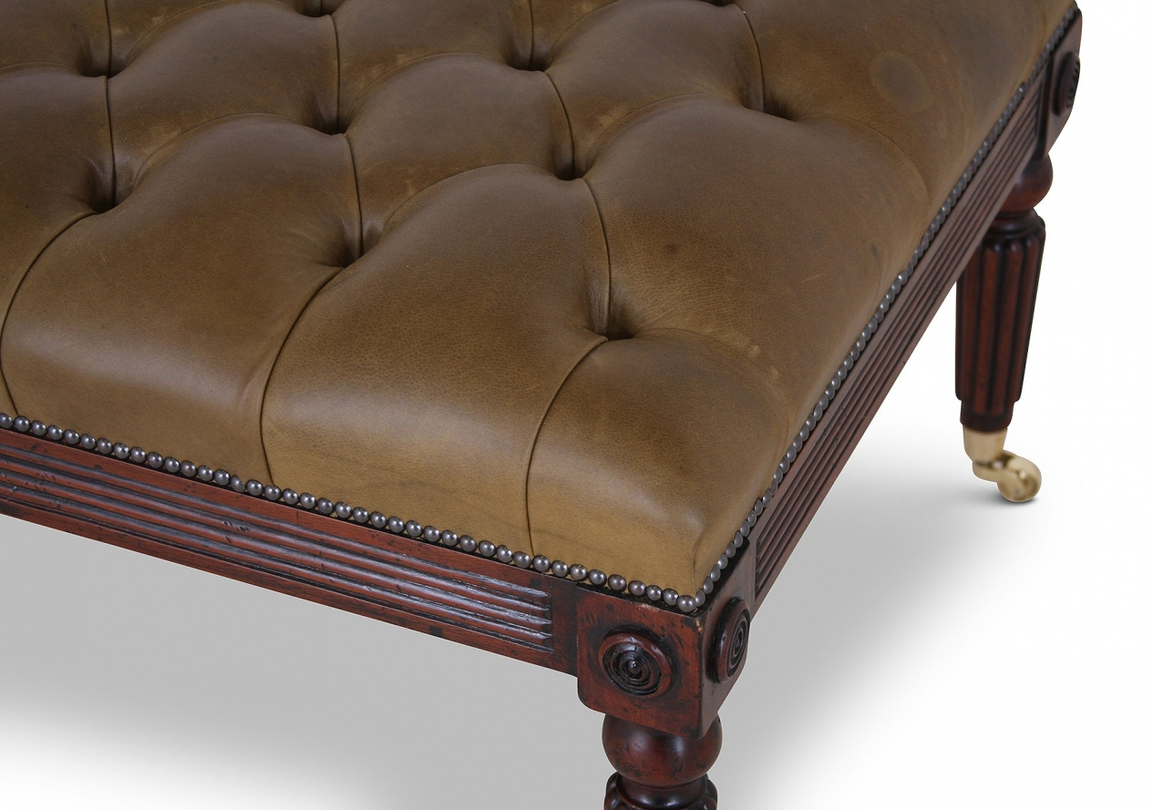 Buttoned olive leather walnut stool