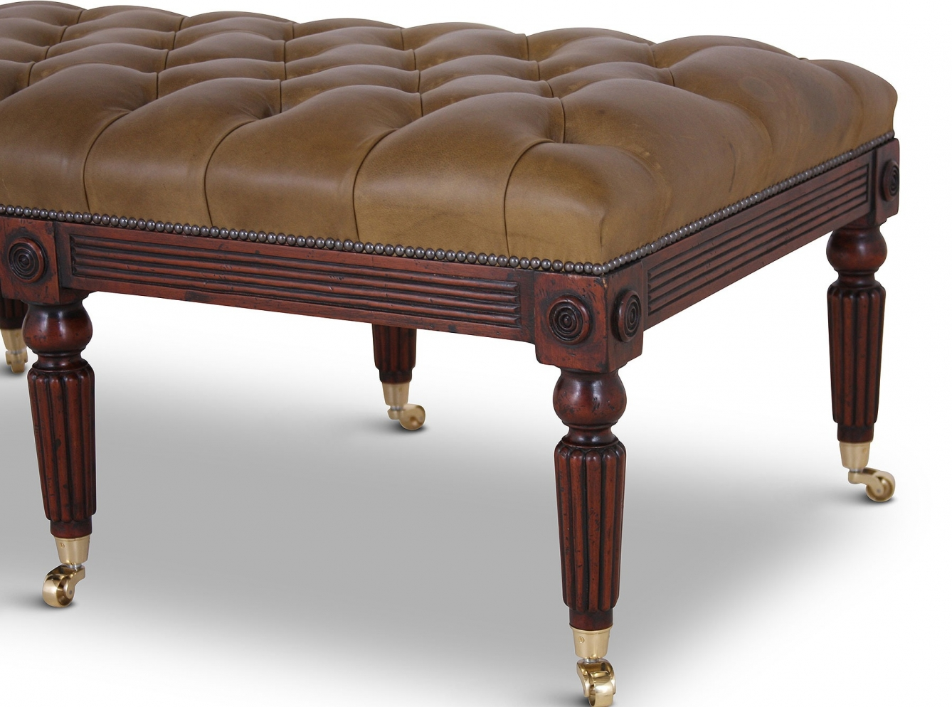 Buttoned olive leather mahogany stool