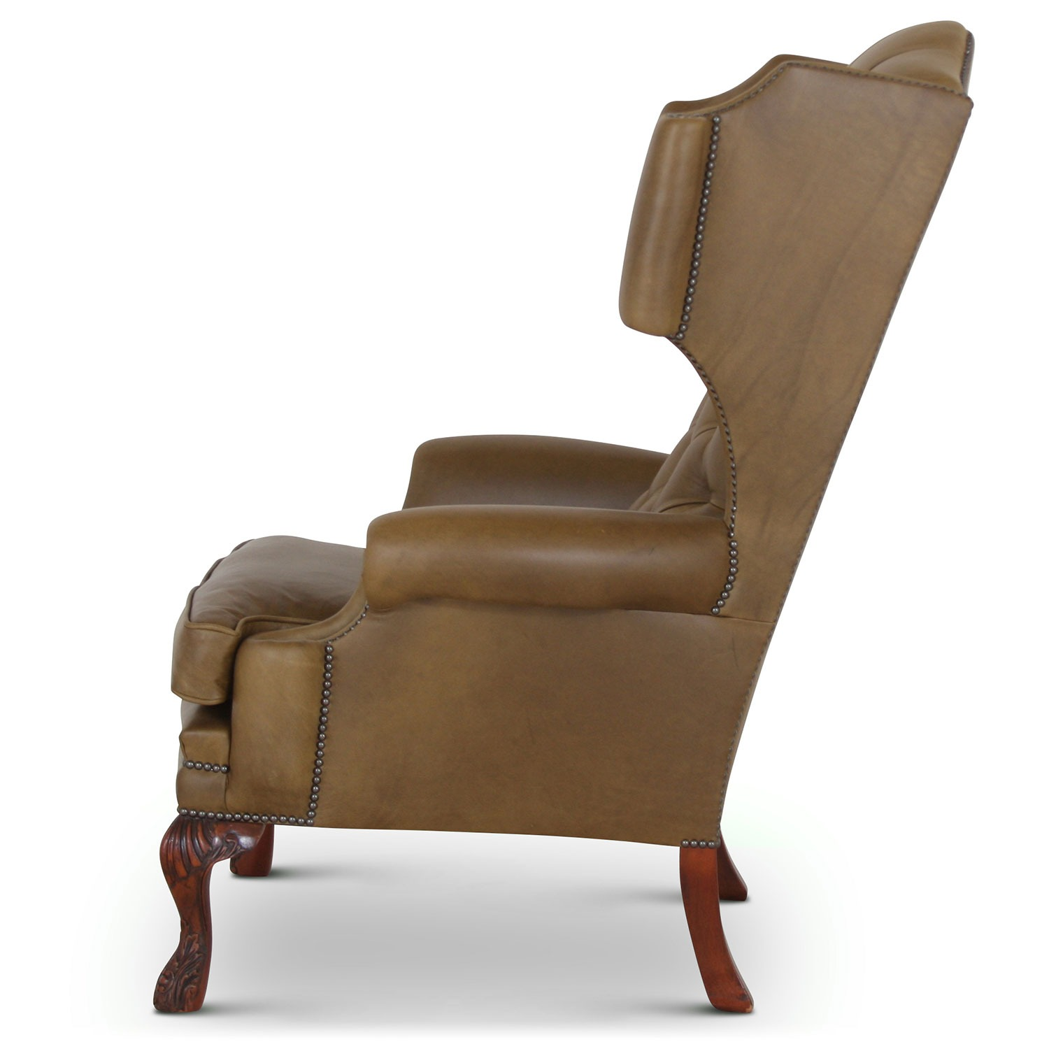 Elizabethan wing chair in olive leather