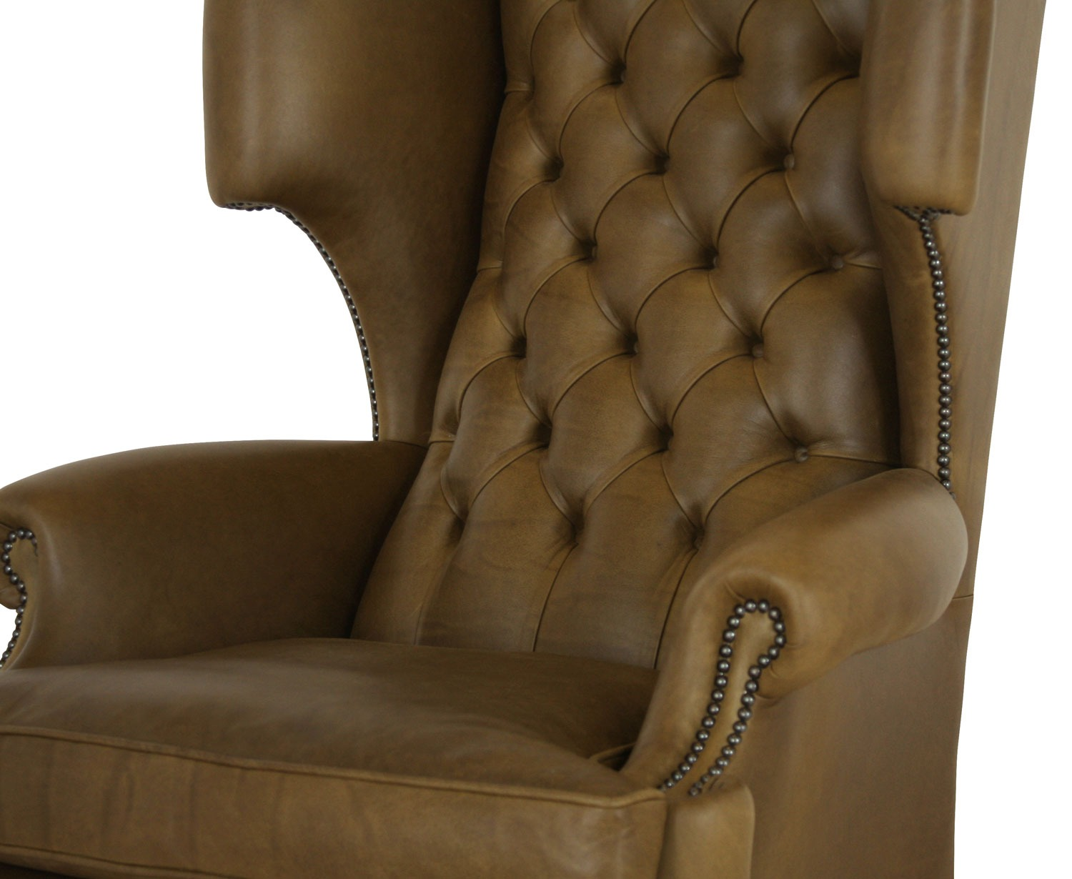 Elizabethan leather wing chair - Olive
