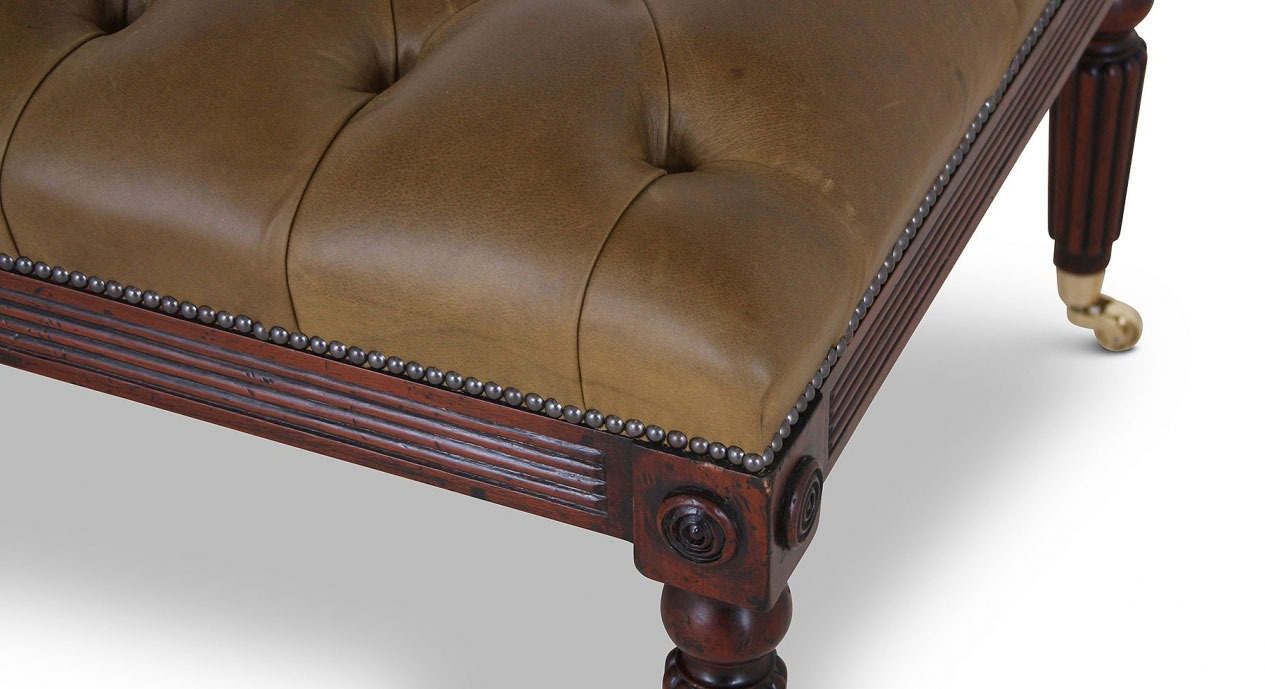 Mahogany buttoned olive leather stool - small
