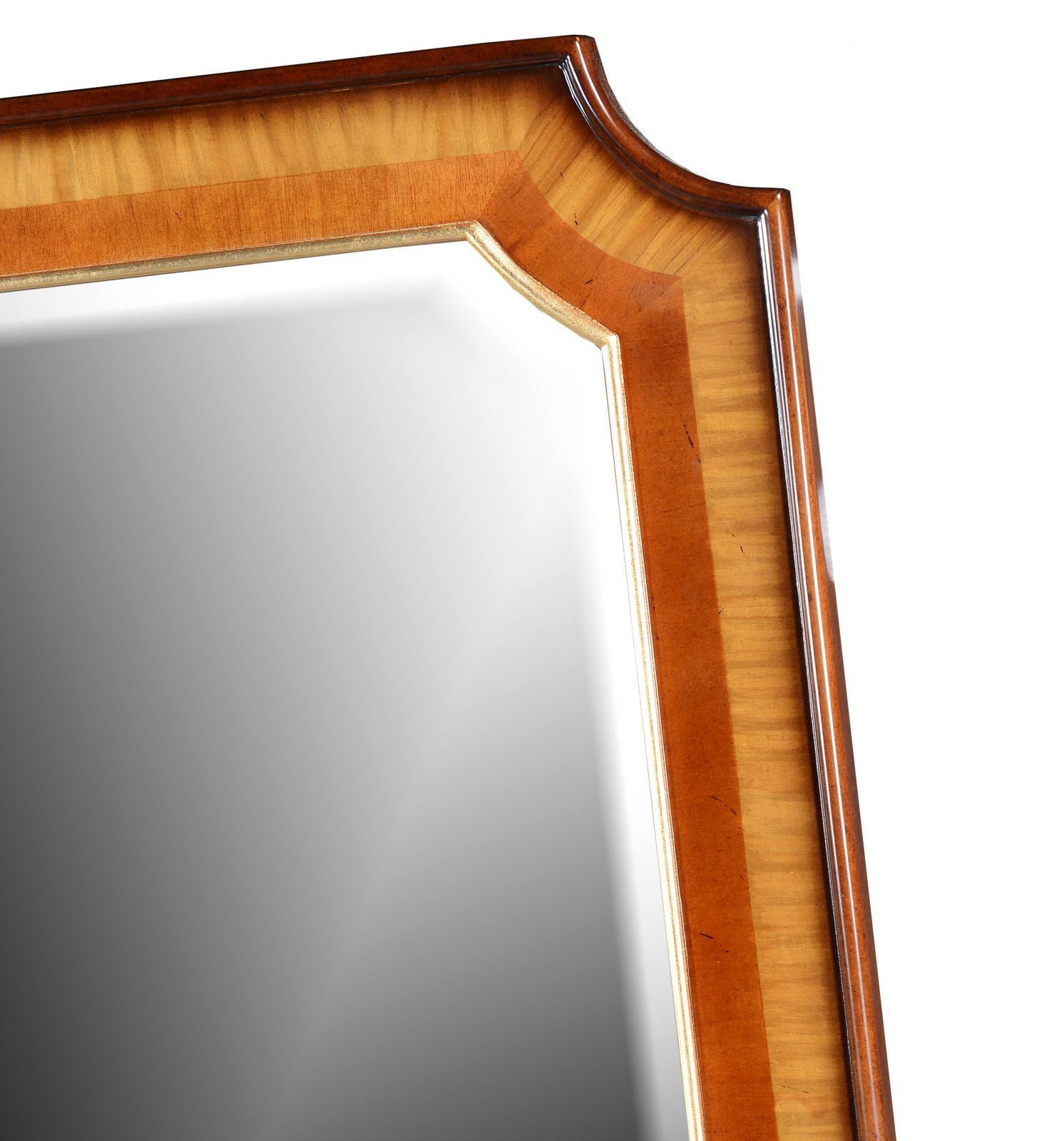 Mahogany and satinwood wooden overmantel mirror