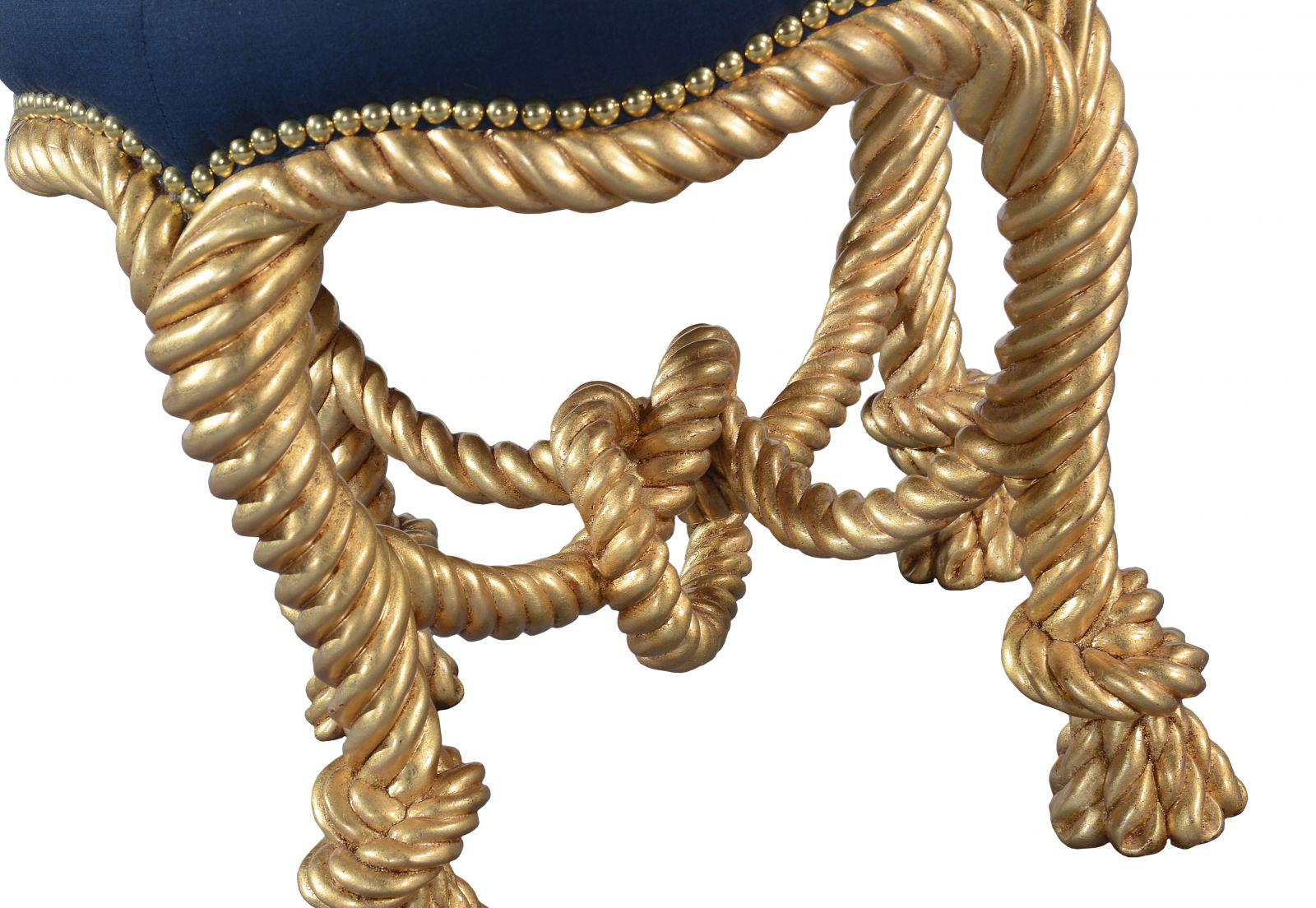 Ropework circular stool - Giltwood