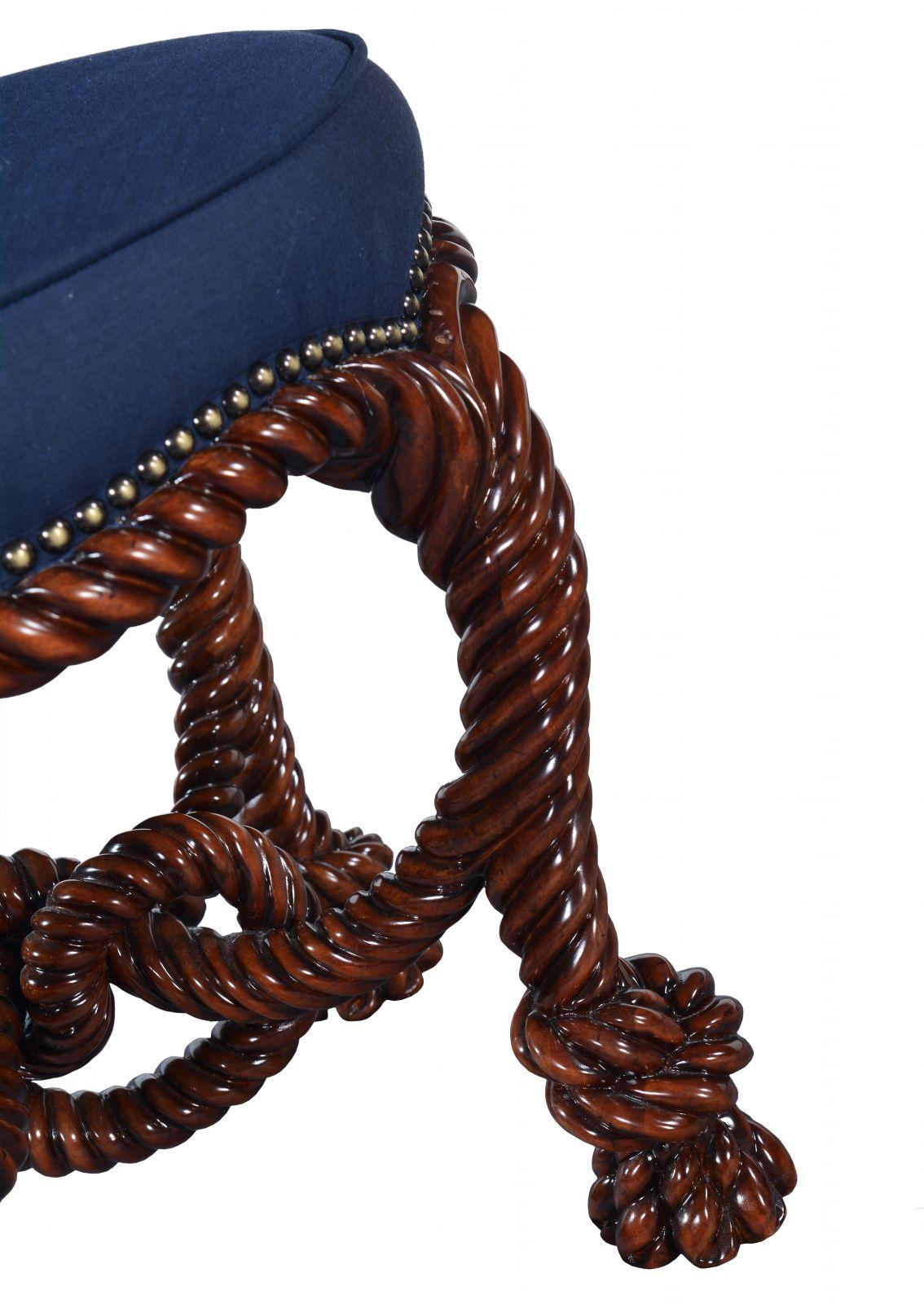 Ropework circular stool - Mahogany