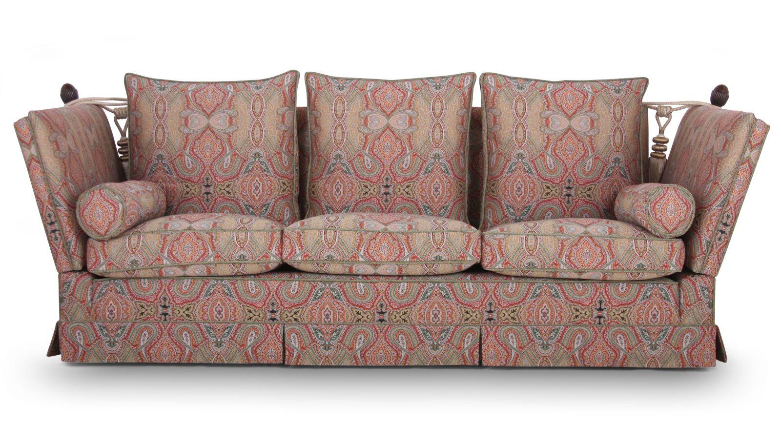 Tudor Knole 3 seat sofa in Zarina Bohemian Green