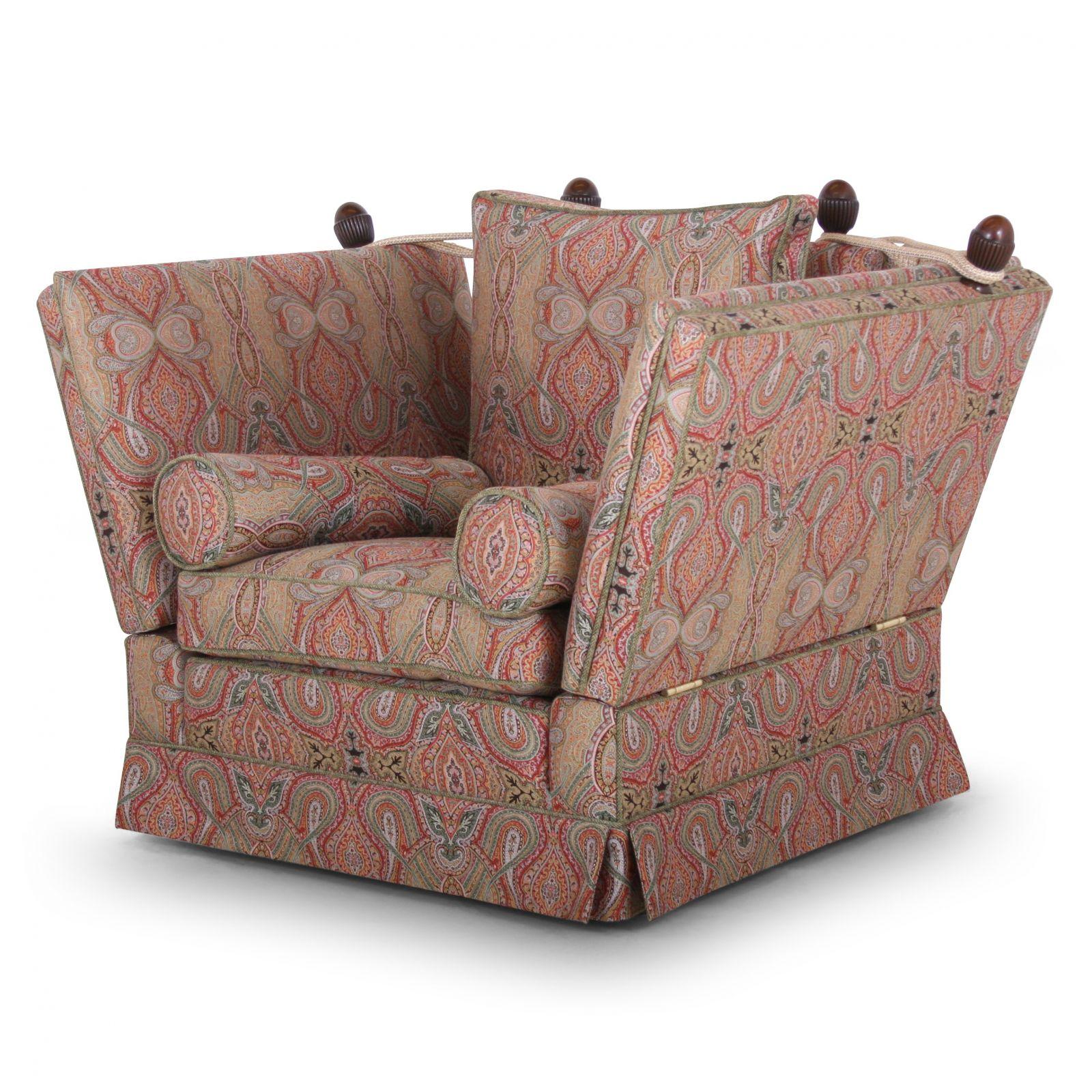 Tudor Knole chair in Zarina Bohemian Green