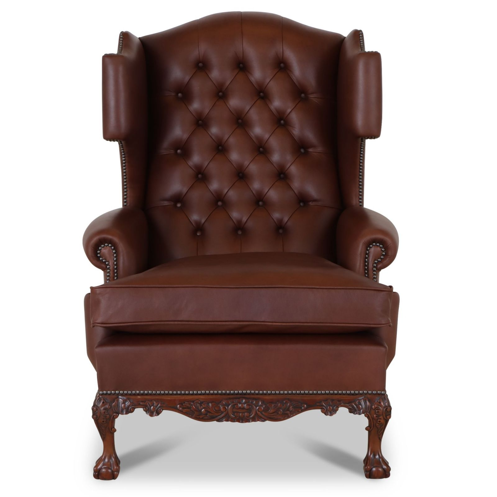 Dryden traditional buttoned leather wing chair